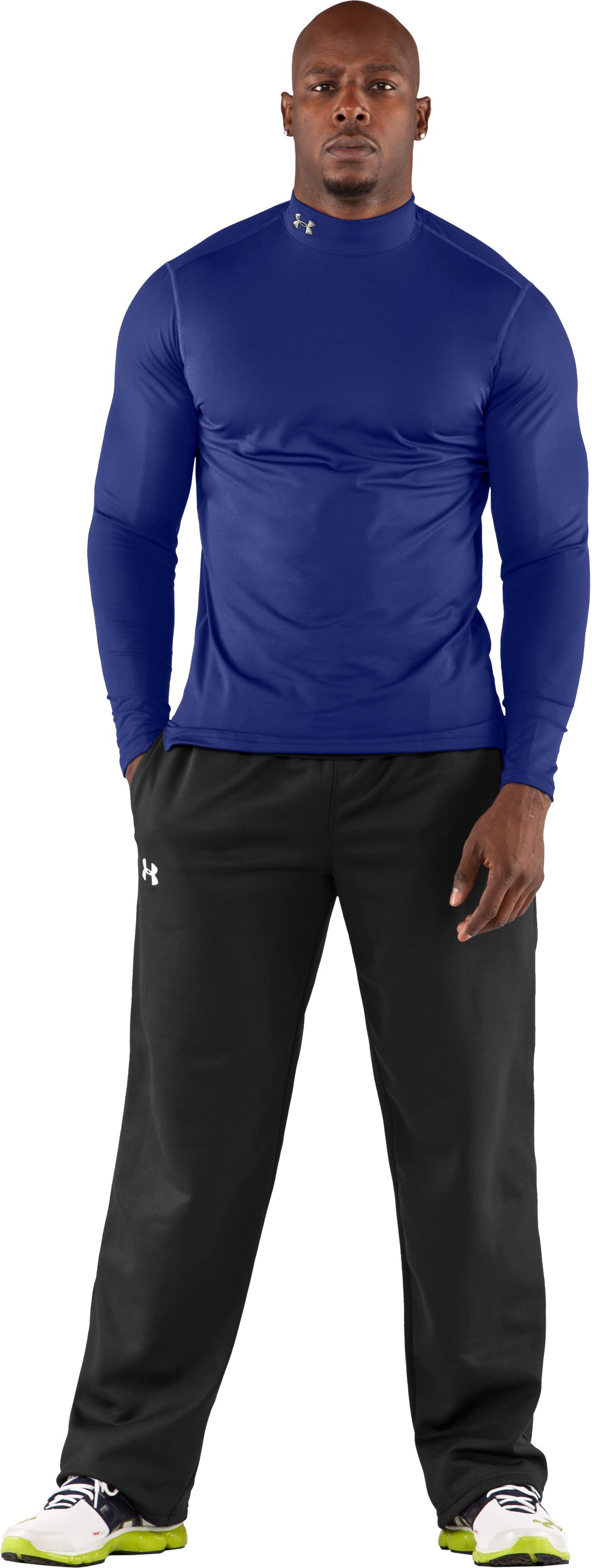 Men's ColdGear® Fitted Long Sleeve Mock, Royal, Front