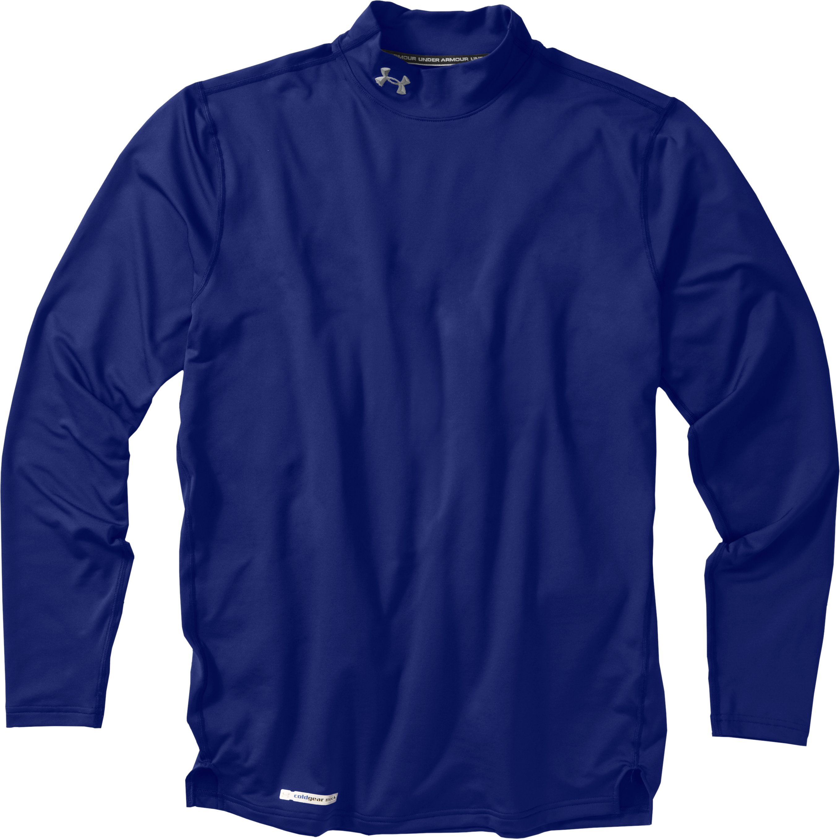 Men's ColdGear® Fitted Long Sleeve Mock, Royal, Laydown
