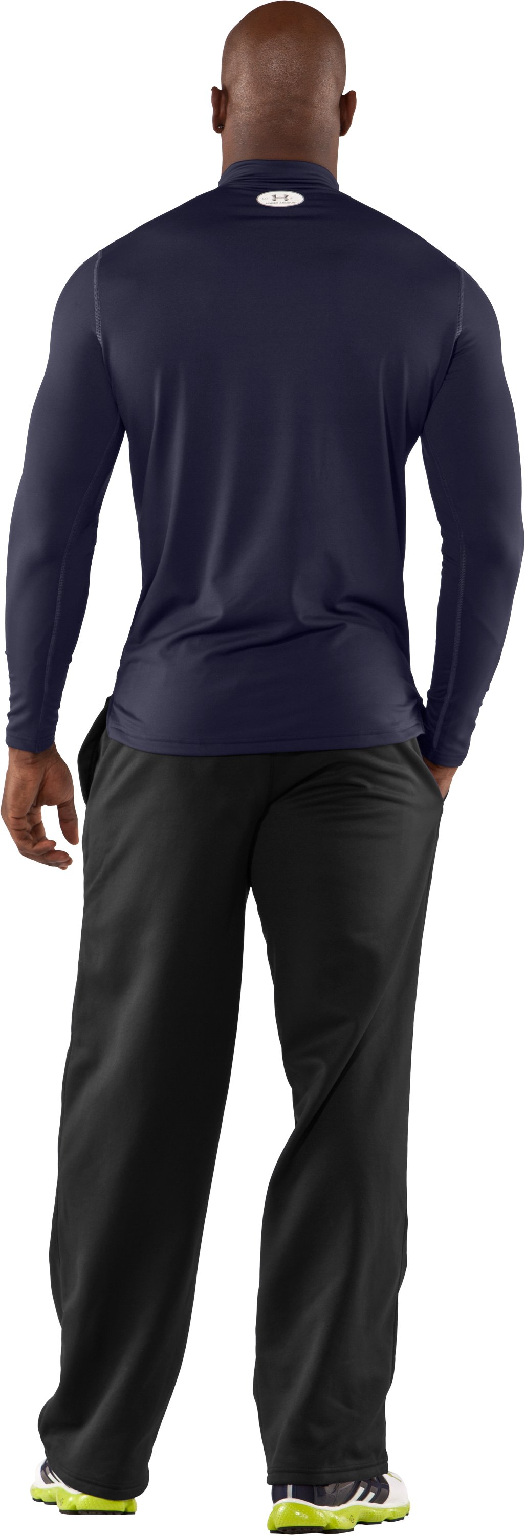 Men's ColdGear® Fitted Long Sleeve Mock, Midnight Navy, Back