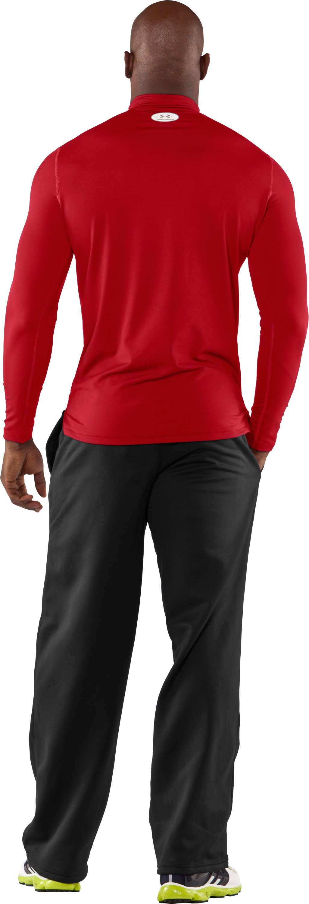 Men's ColdGear® Fitted Long Sleeve Mock, Red, Back