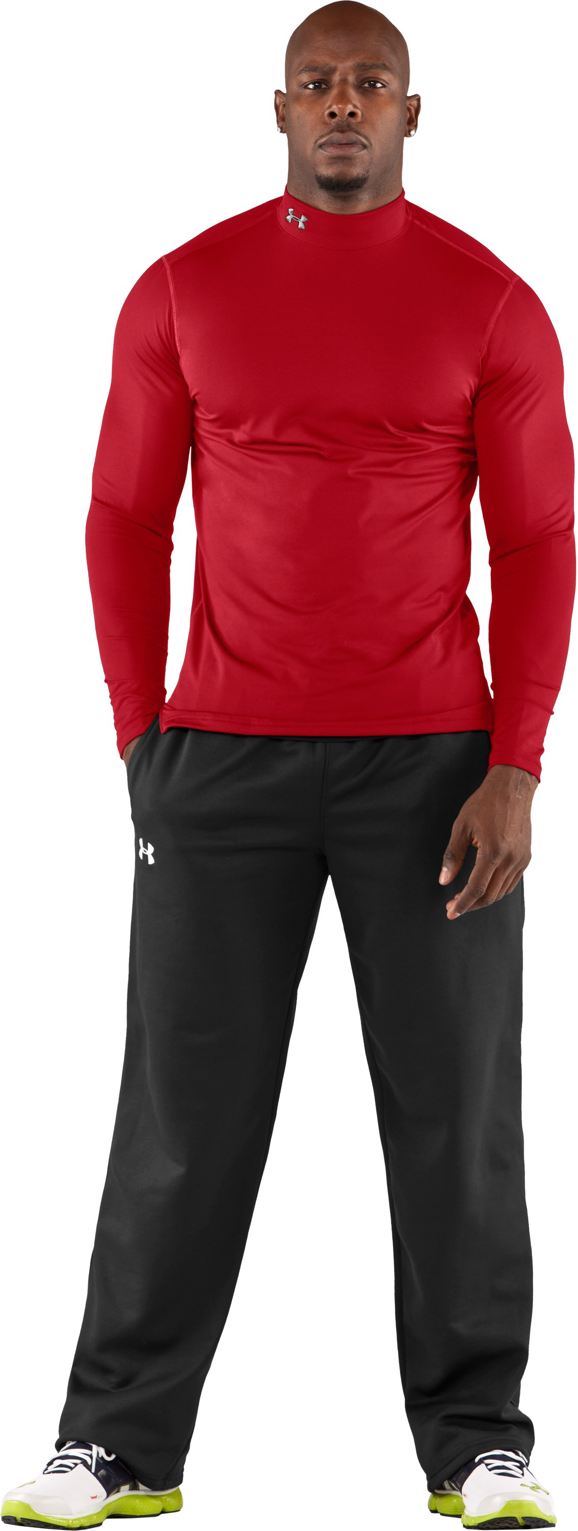 Men's ColdGear® Fitted Long Sleeve Mock, Red, Front