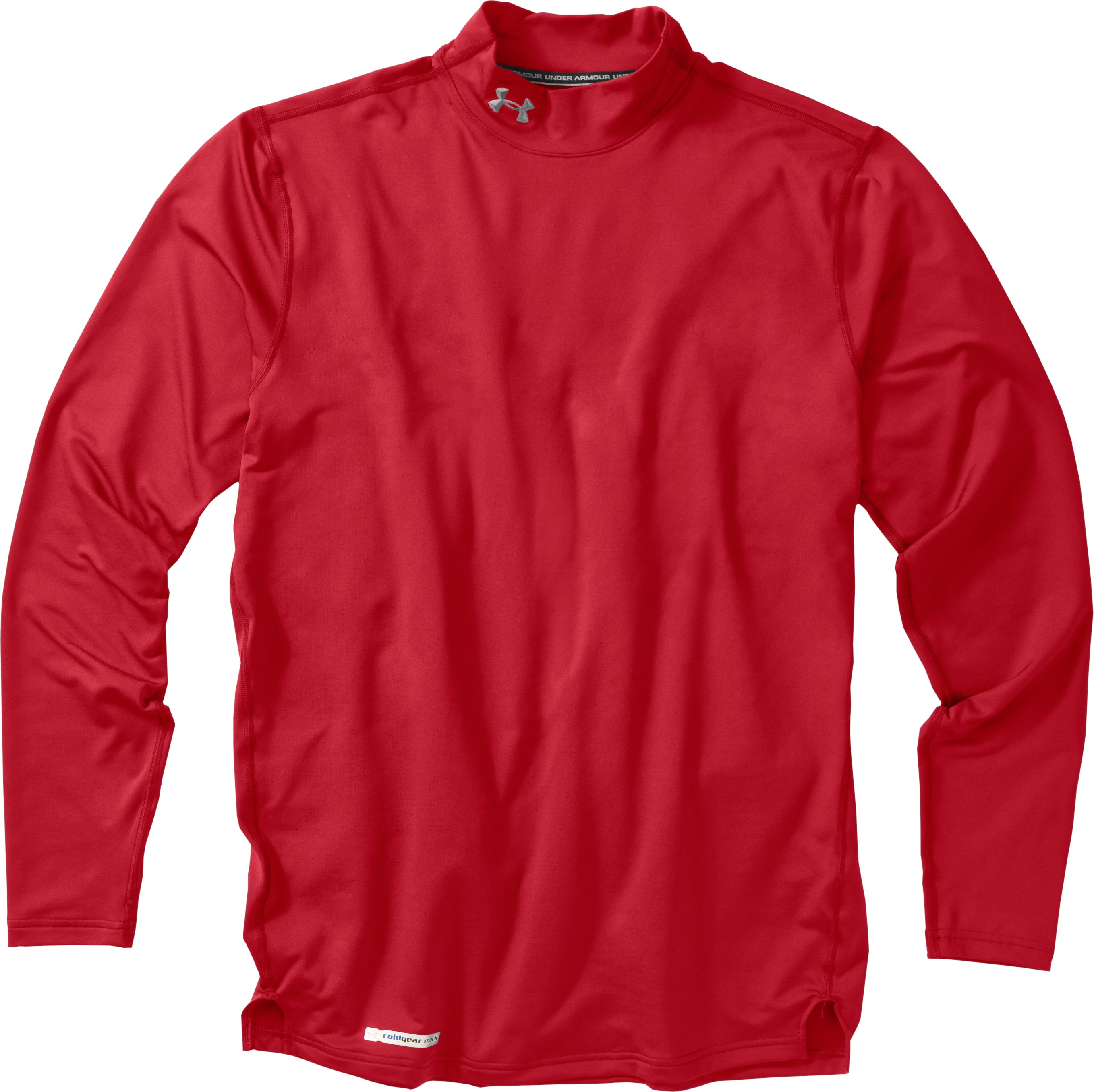 Men's ColdGear® Fitted Long Sleeve Mock, Red, Laydown