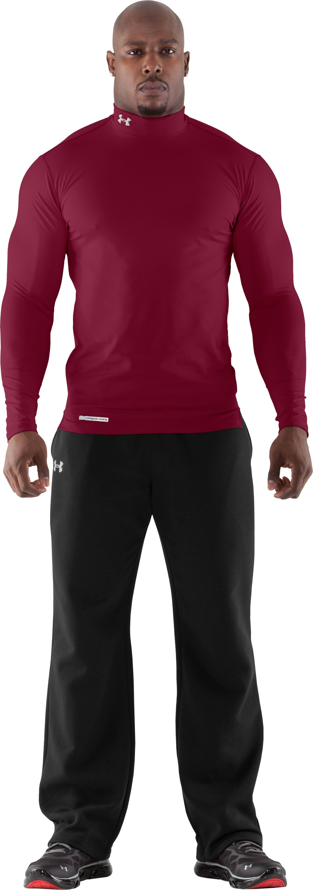 Men's ColdGear® Fitted Long Sleeve Mock, Maroon, Front