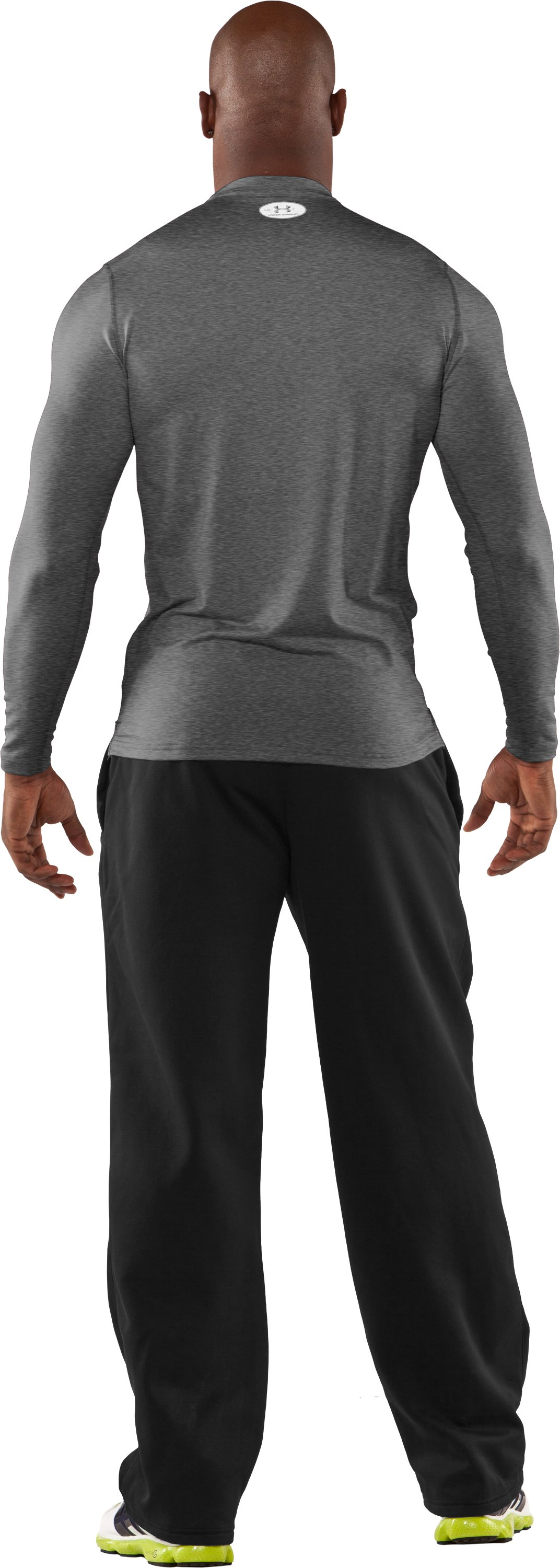 Men's ColdGear® Fitted Long Sleeve Crew, True Gray Heather, Back