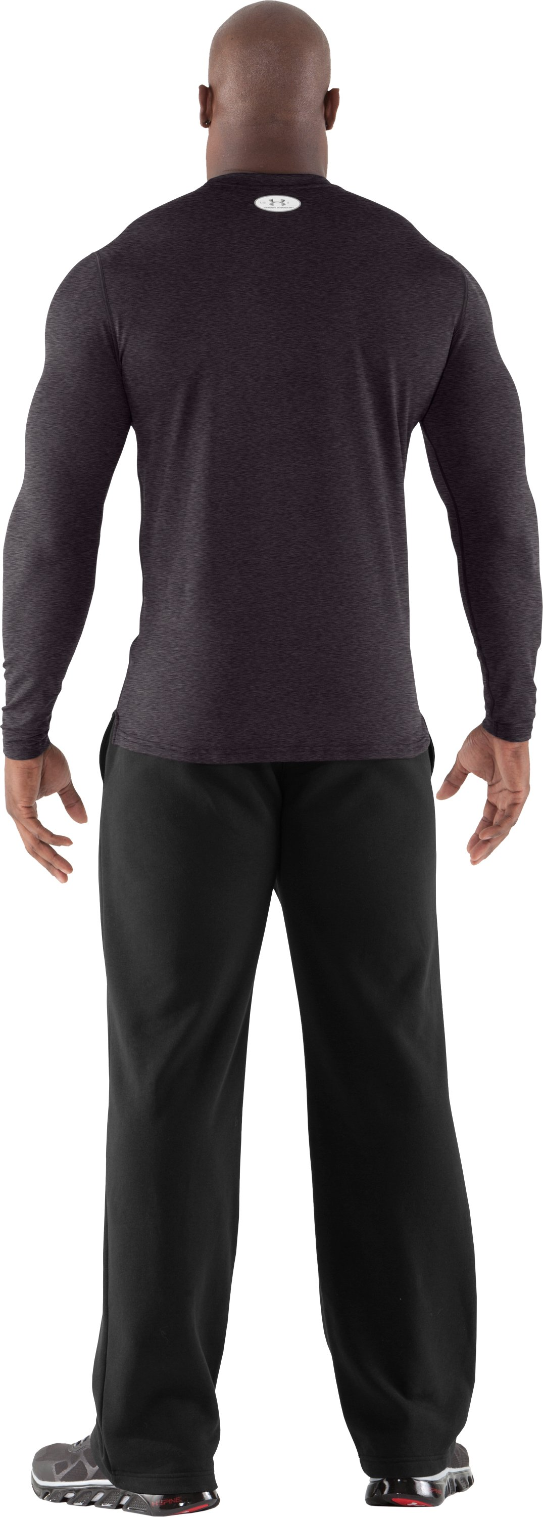 Men's ColdGear® Fitted Long Sleeve Crew, Carbon Heather, Back