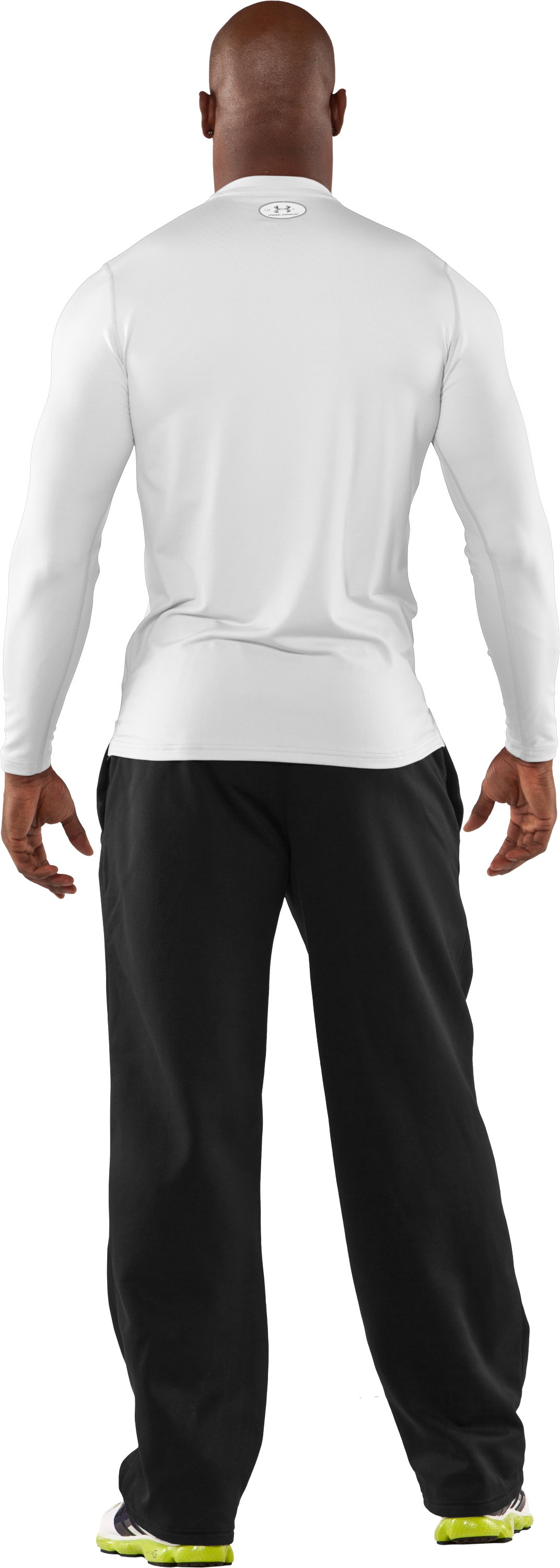 Men's ColdGear® Fitted Long Sleeve Crew, White, Back