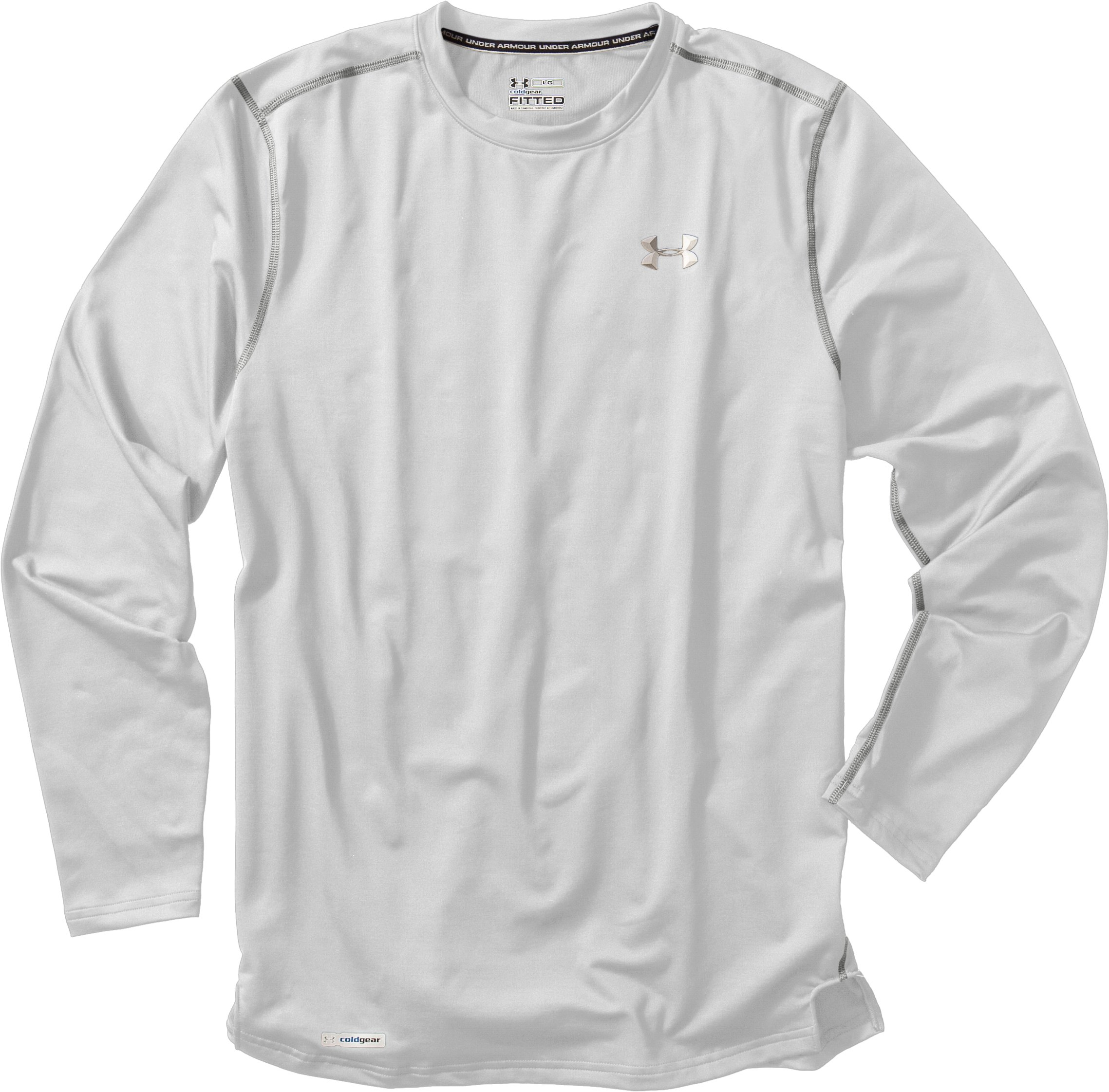 Men's ColdGear® Fitted Long Sleeve Crew, White, Laydown