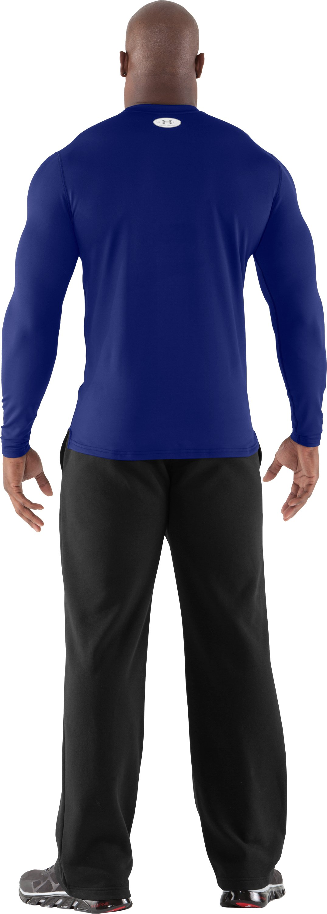 Men's ColdGear® Fitted Long Sleeve Crew, Royal, Back