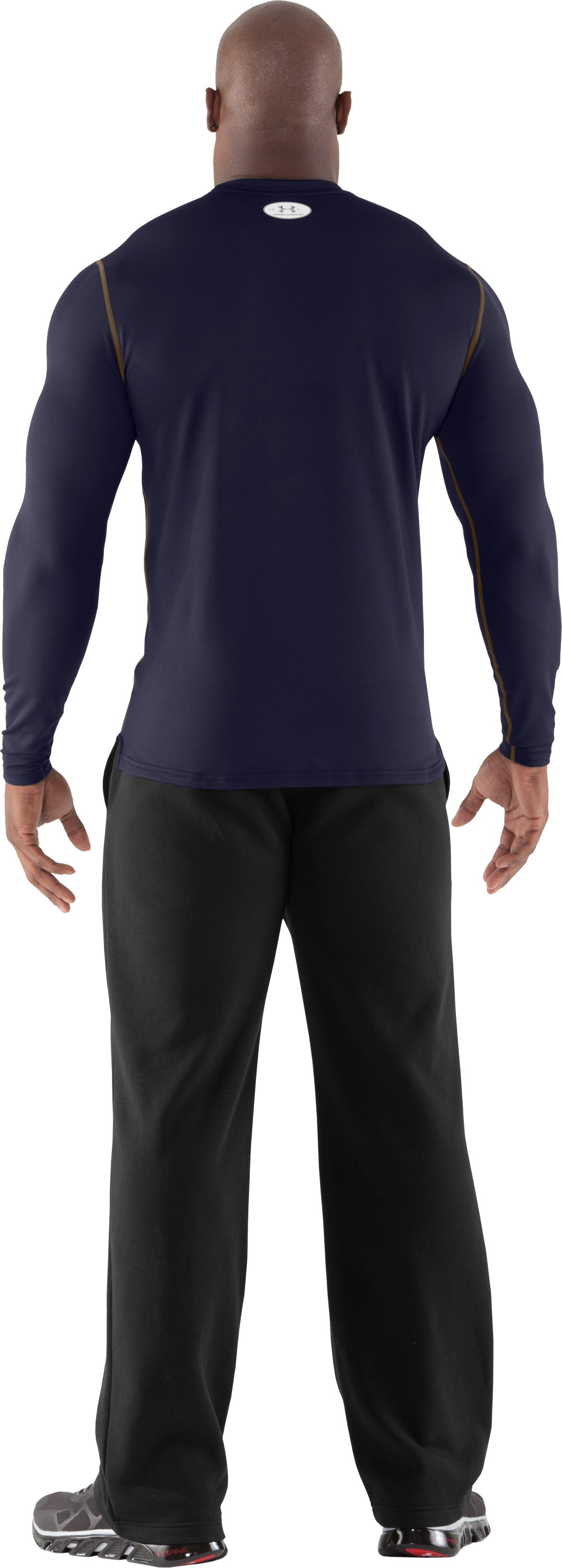 Men's ColdGear® Fitted Long Sleeve Crew, Midnight Navy, Back