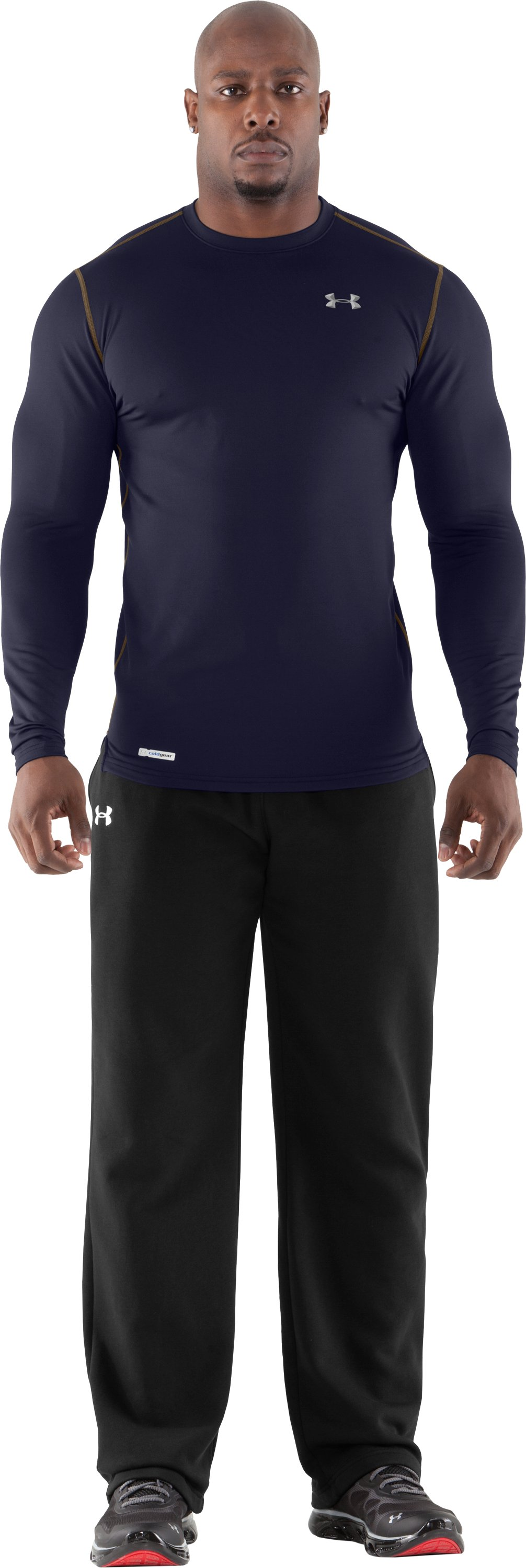 Men's ColdGear® Fitted Long Sleeve Crew, Midnight Navy