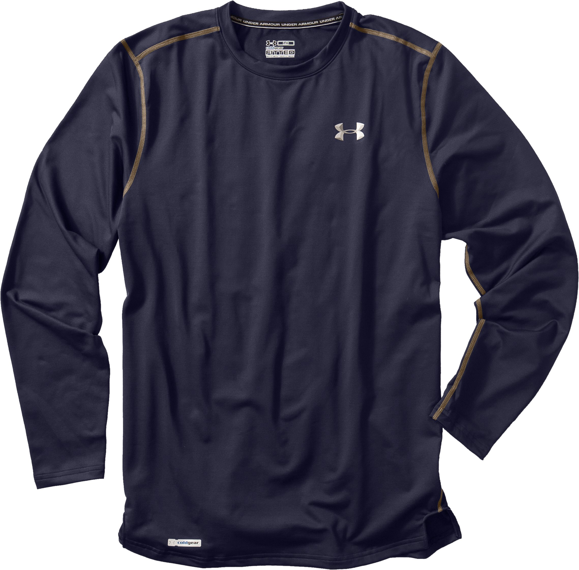 Men's ColdGear® Fitted Long Sleeve Crew, Midnight Navy, Laydown