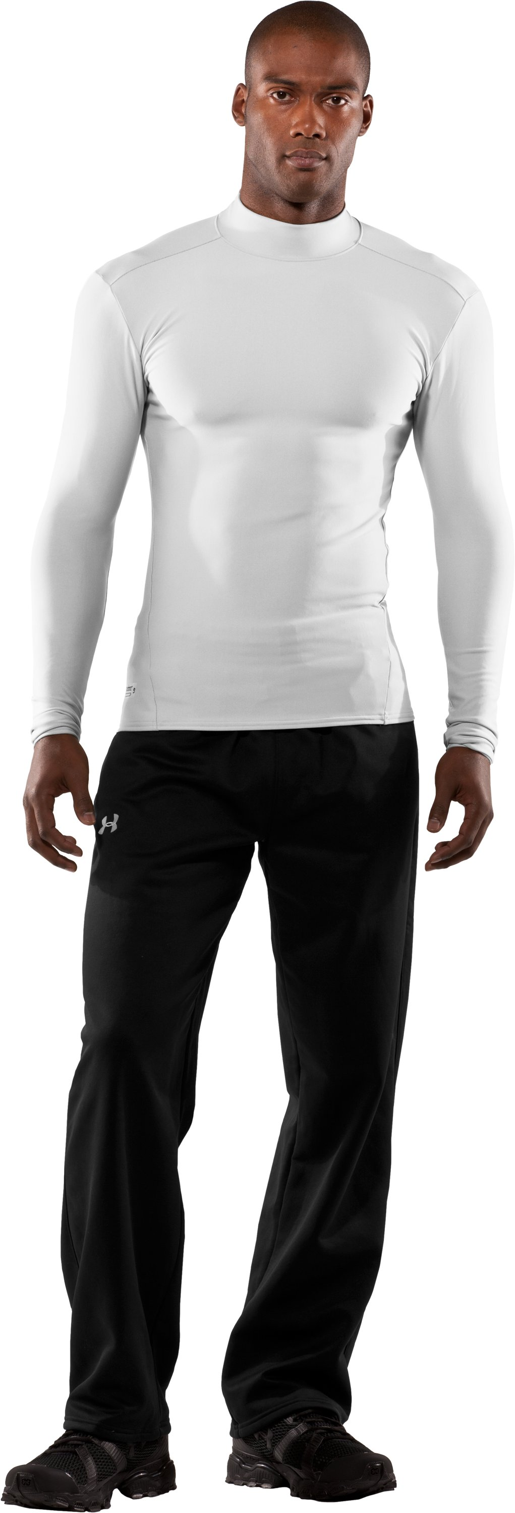 Men's Tactical ColdGear® Long Sleeve Compression Mock, White, Front