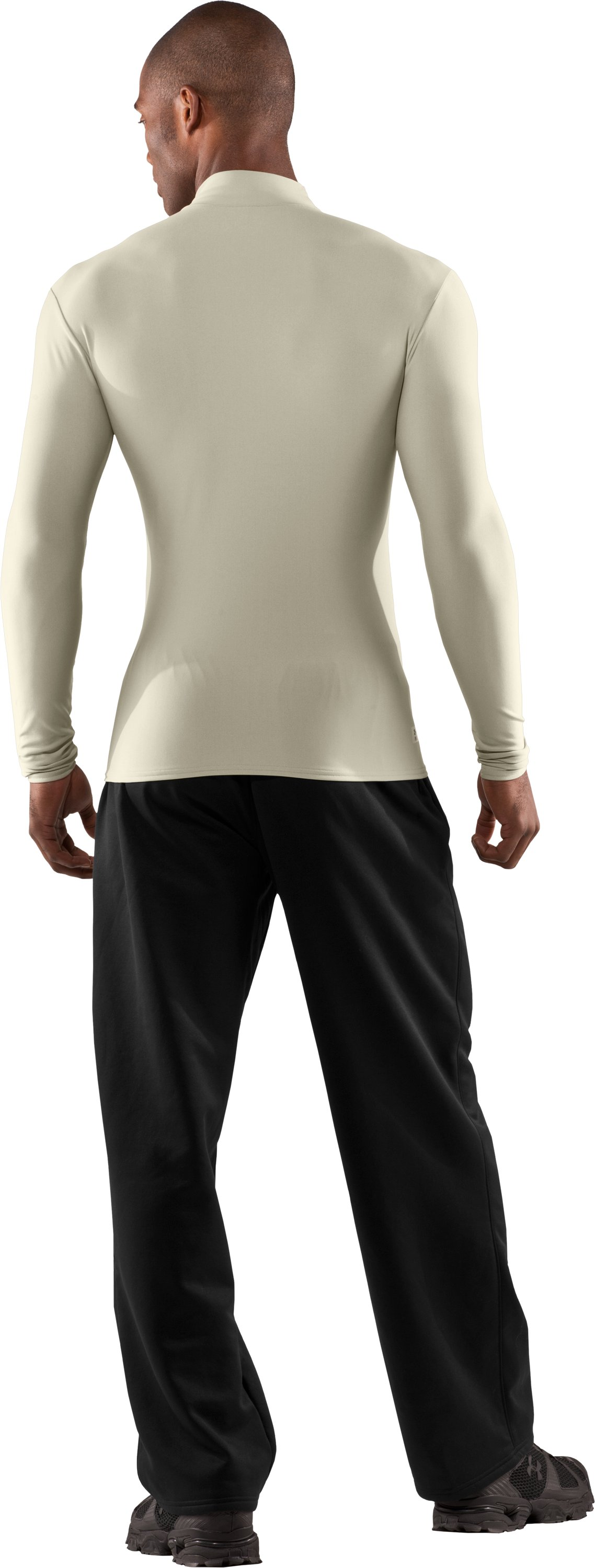 Men's Tactical ColdGear® Long Sleeve Compression Mock, Desert Sand, Back