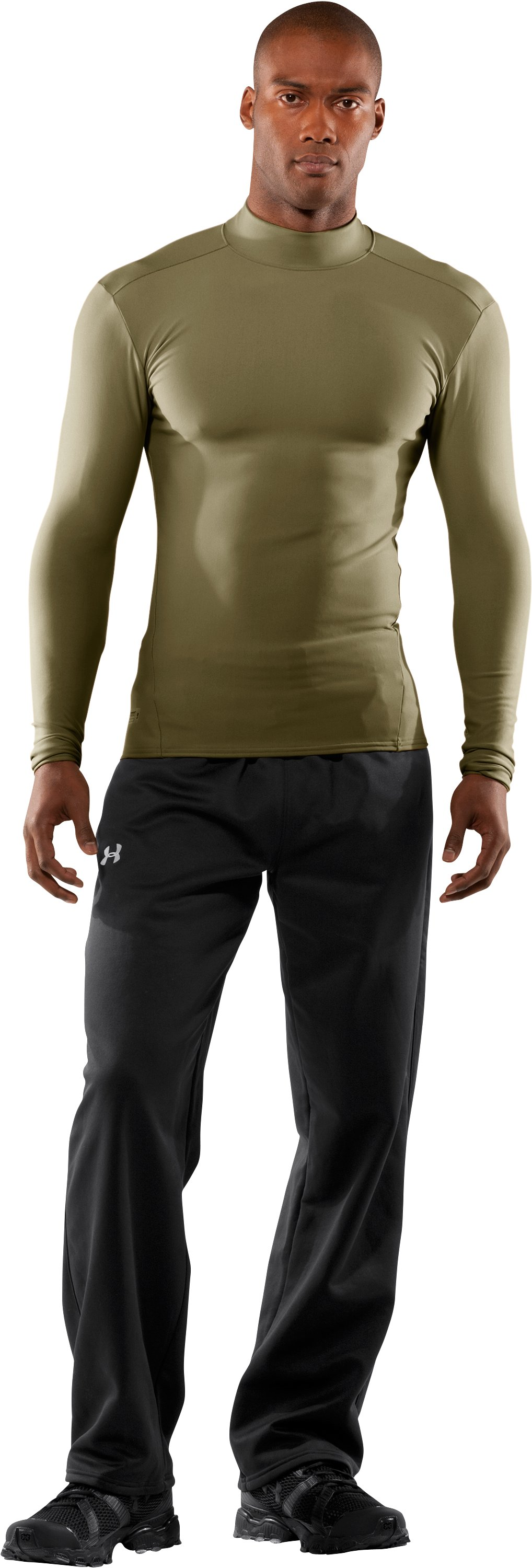 Men's Tactical ColdGear® Long Sleeve Compression Mock, Marine OD Green, Front
