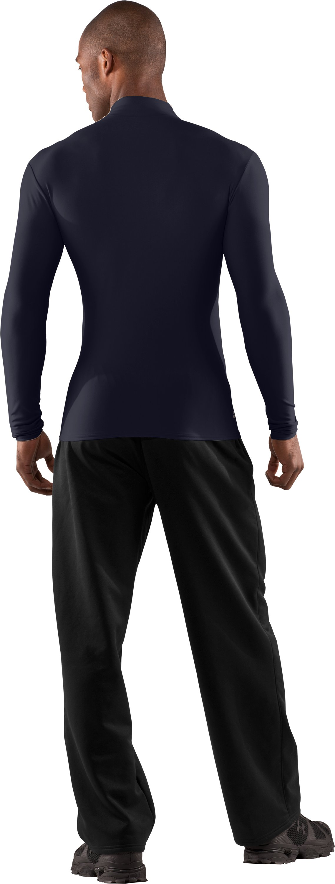Men's Tactical ColdGear® Long Sleeve Compression Mock, Dark Navy Blue , Back