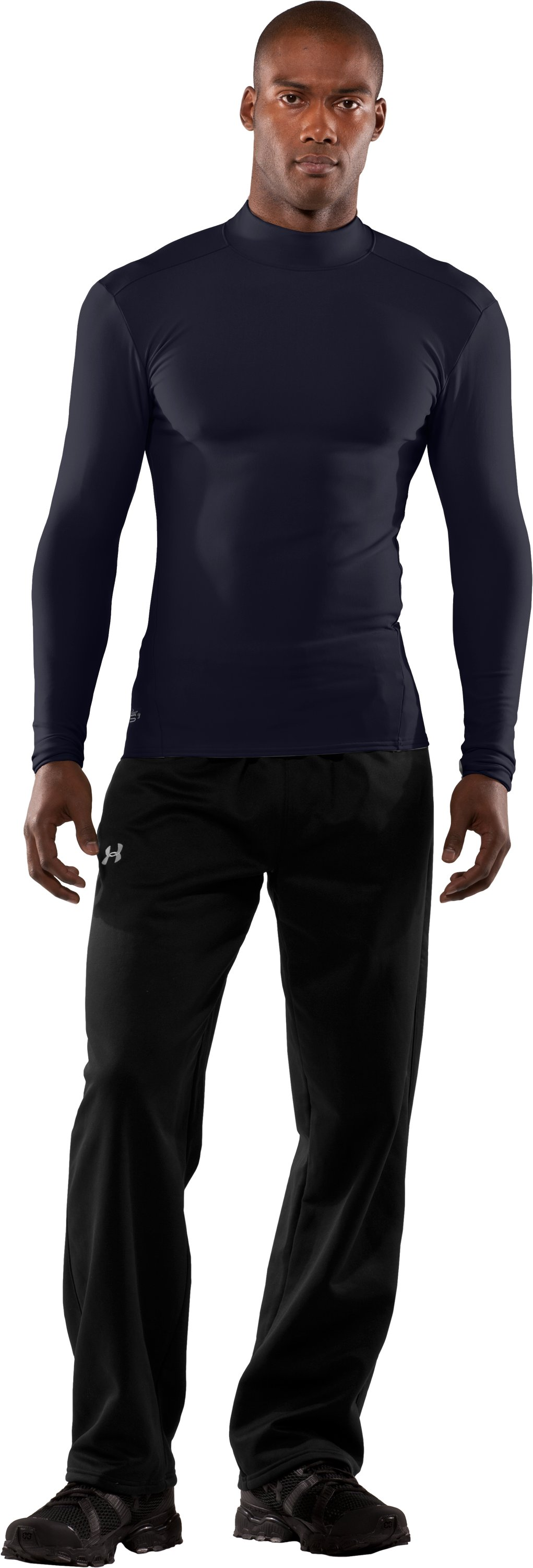 Men's Tactical ColdGear® Long Sleeve Compression Mock, Dark Navy Blue , Front