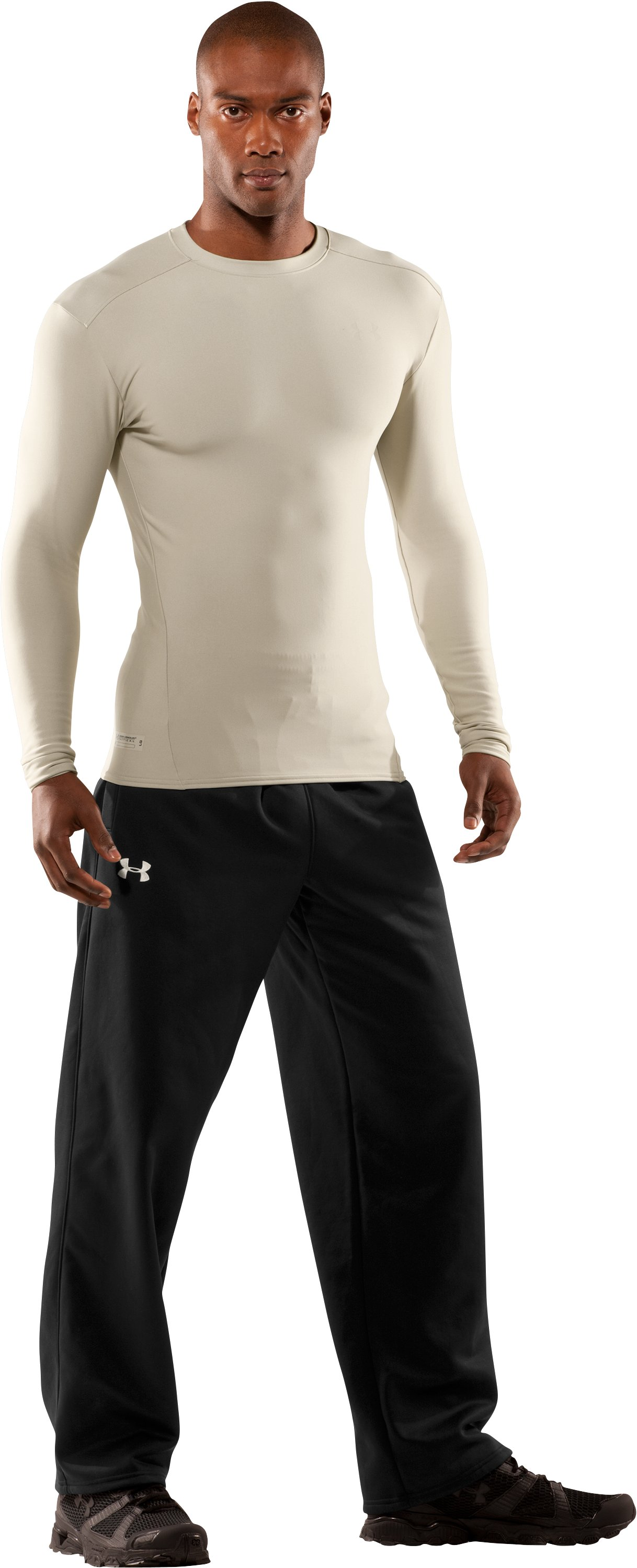 Men's UA ColdGear® Tactical Long Sleeve Crew, Desert Sand, Front
