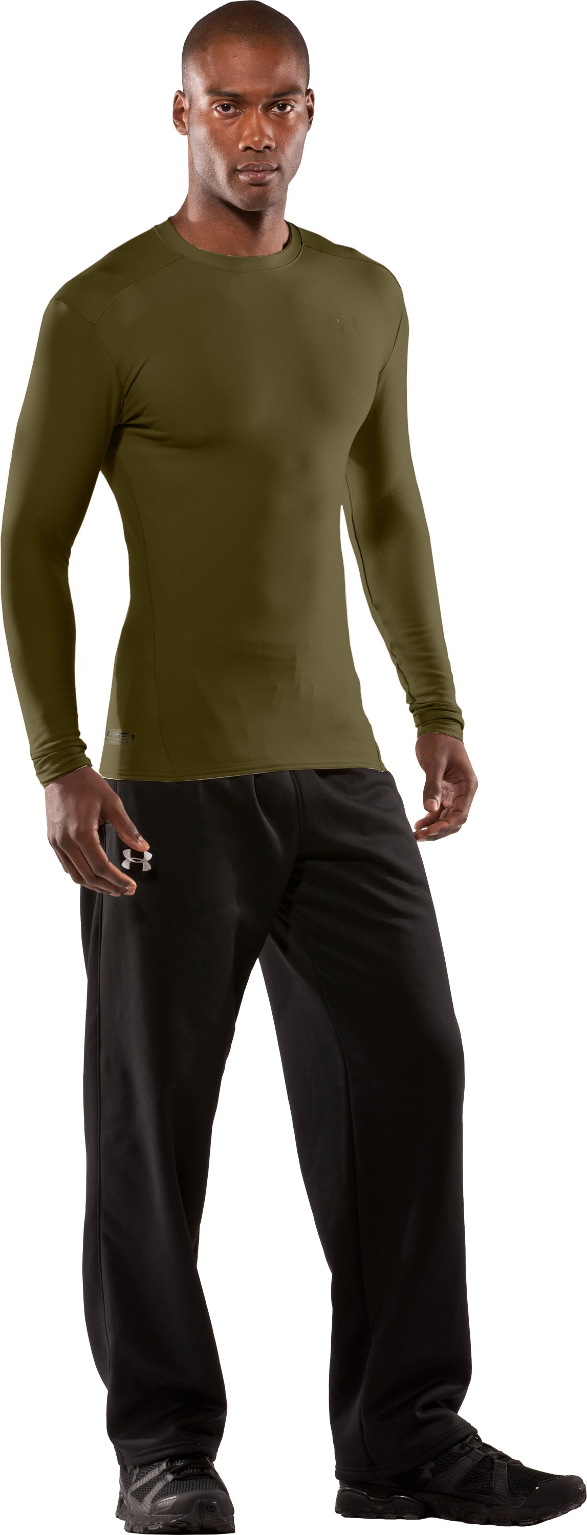Men's UA ColdGear® Tactical Long Sleeve Crew, Marine OD Green, Front
