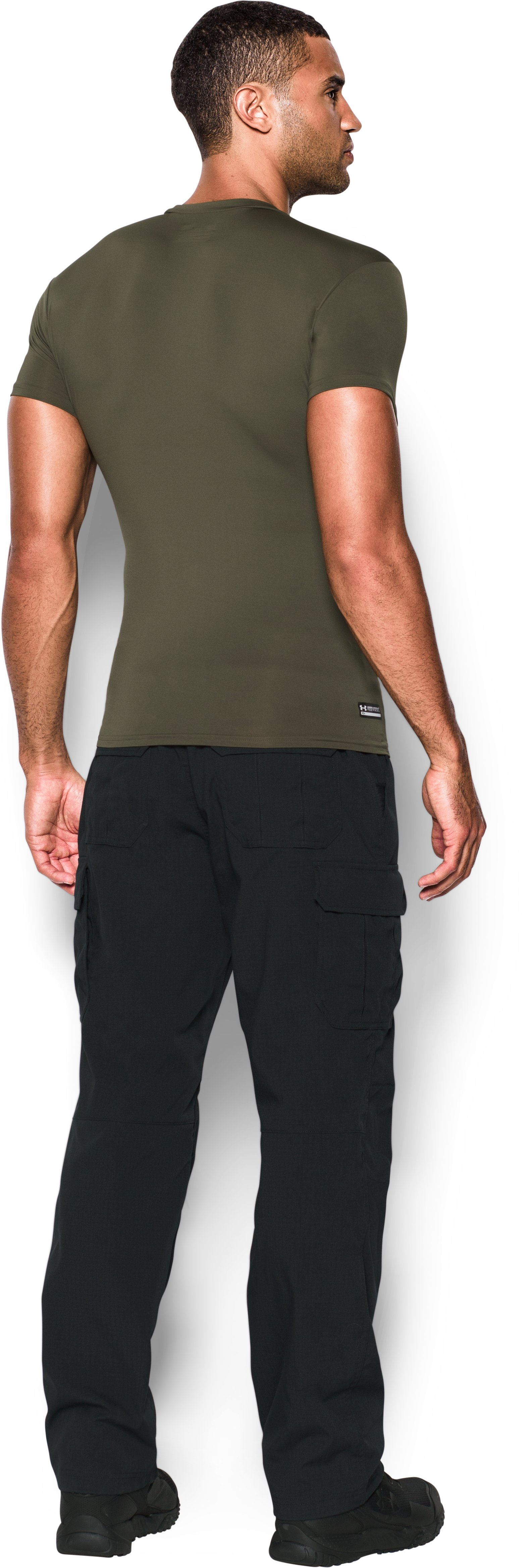 Men's Tactical HeatGear® Compression Short Sleeve T-Shirt, Marine OD Green, Back