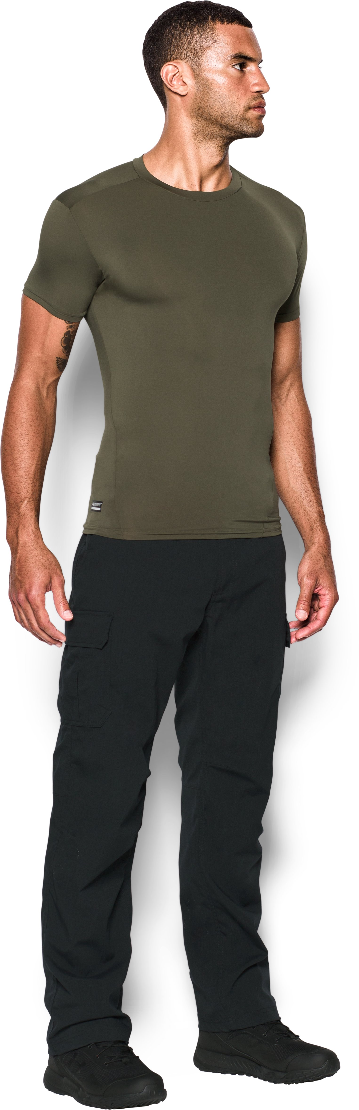 Men's Tactical HeatGear® Compression Short Sleeve T-Shirt, Marine OD Green,