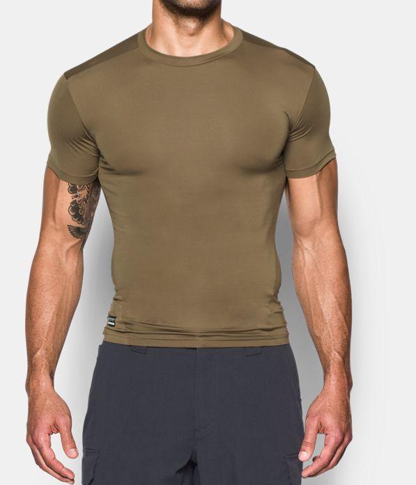 Men s tactical heatgear compression short sleeve t shirt for Under armour brown t shirt