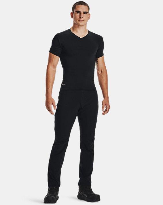 Men's Tactical HeatGear® Compression V-Neck T-Shirt, Black, pdpMainDesktop image number 3