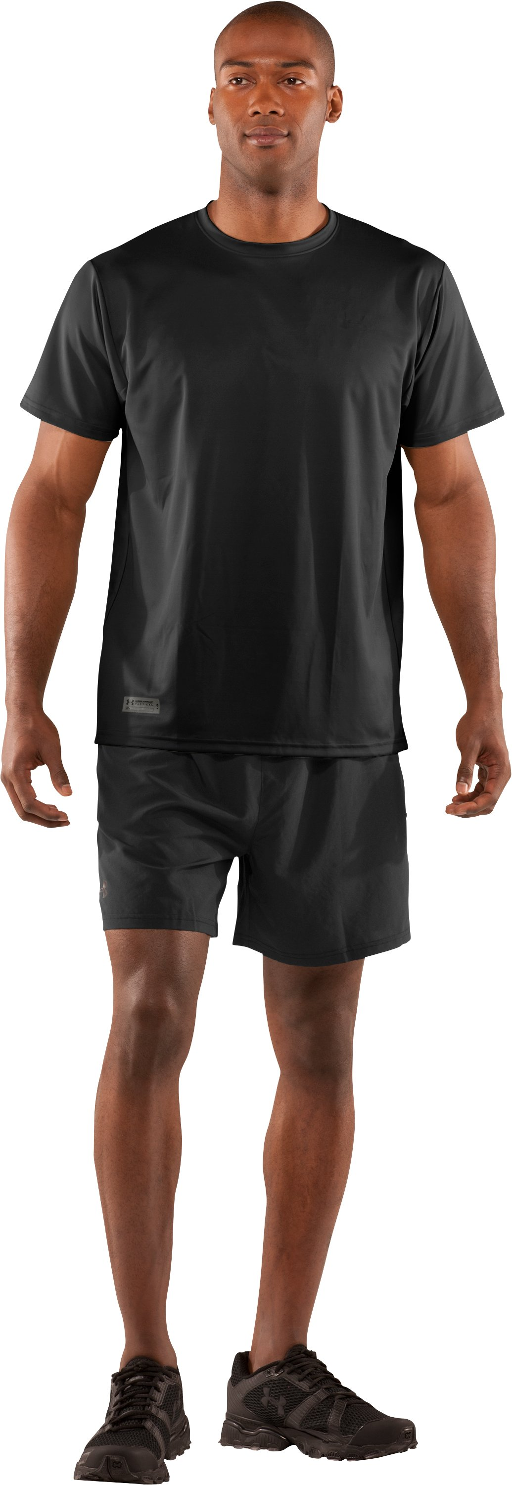 Men's UA HeatGear® Tactical Short Sleeve T-Shirt, Black , Front