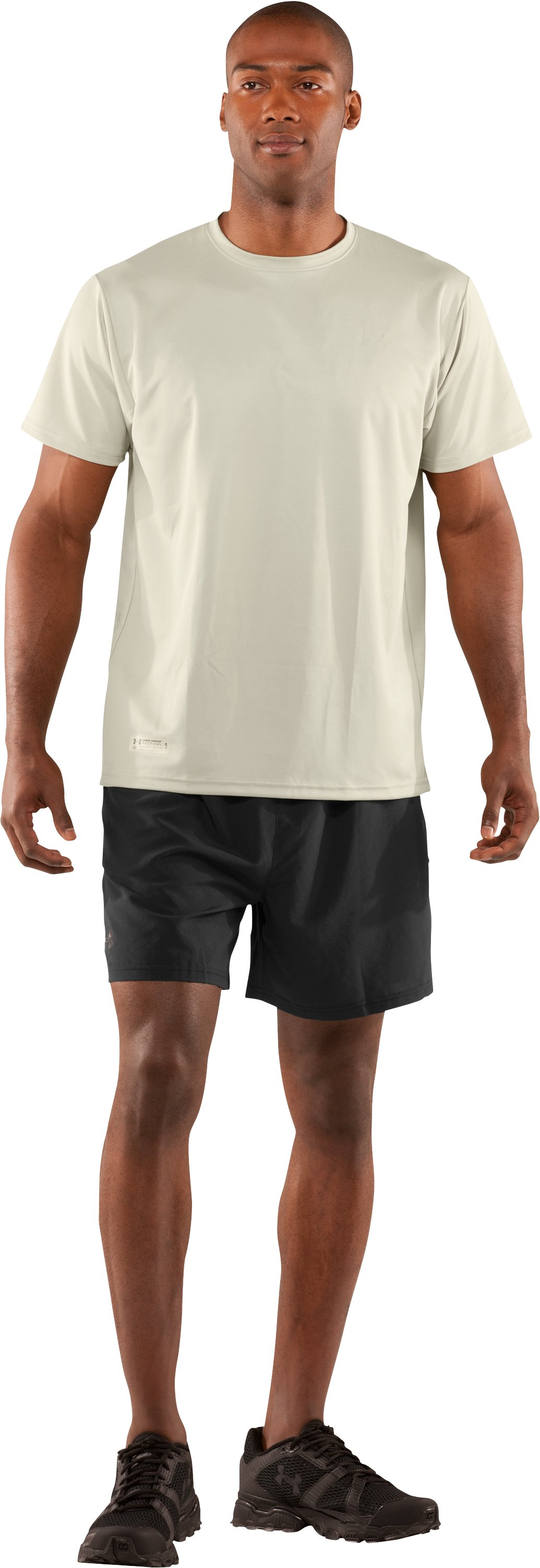 Men's UA HeatGear® Tactical Short Sleeve T-Shirt, Desert Sand, Front
