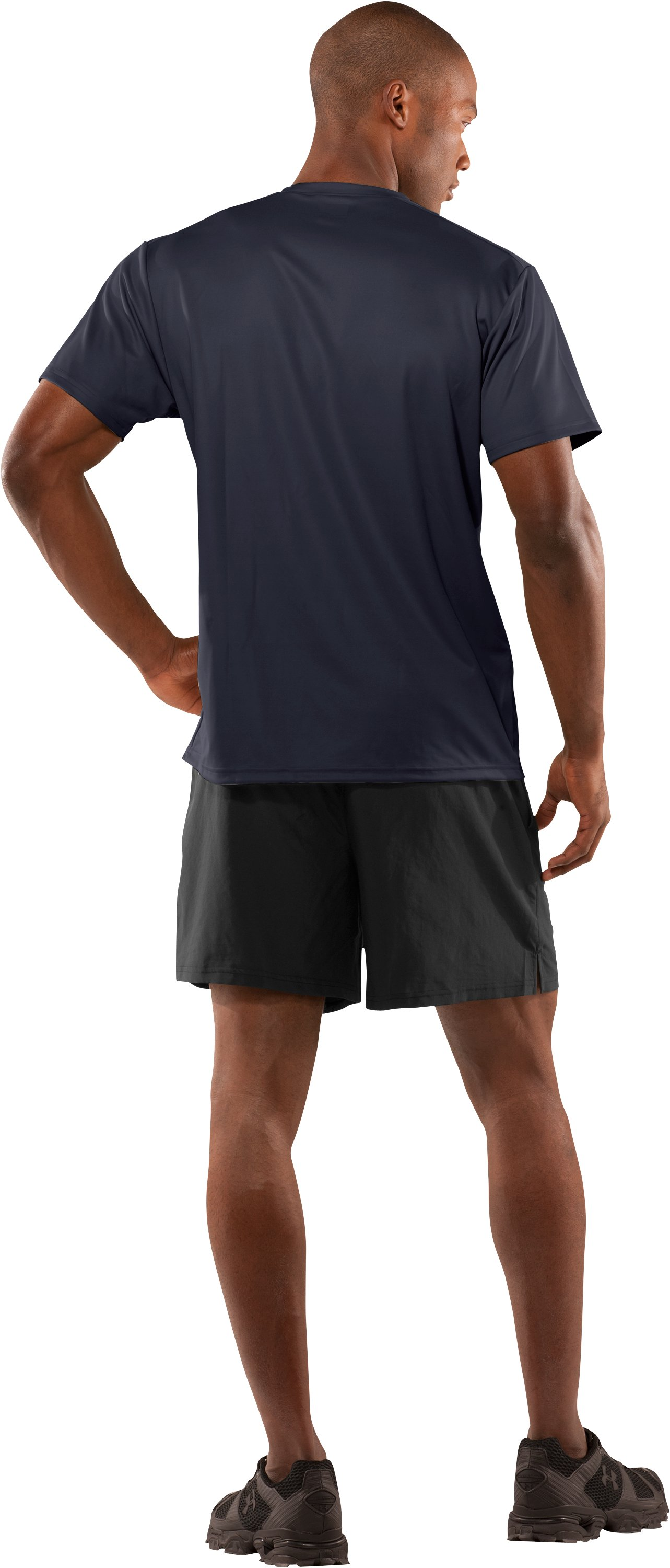Men's UA HeatGear® Tactical Short Sleeve T-Shirt, Dark Navy Blue , Back