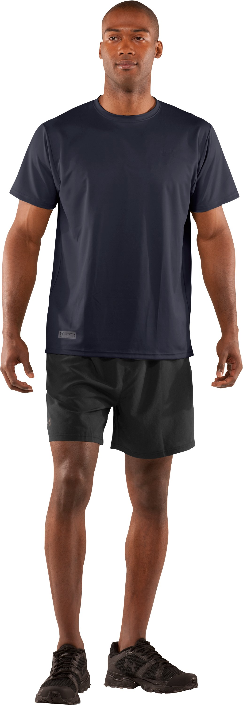 Men's UA HeatGear® Tactical Short Sleeve T-Shirt, Dark Navy Blue , Front