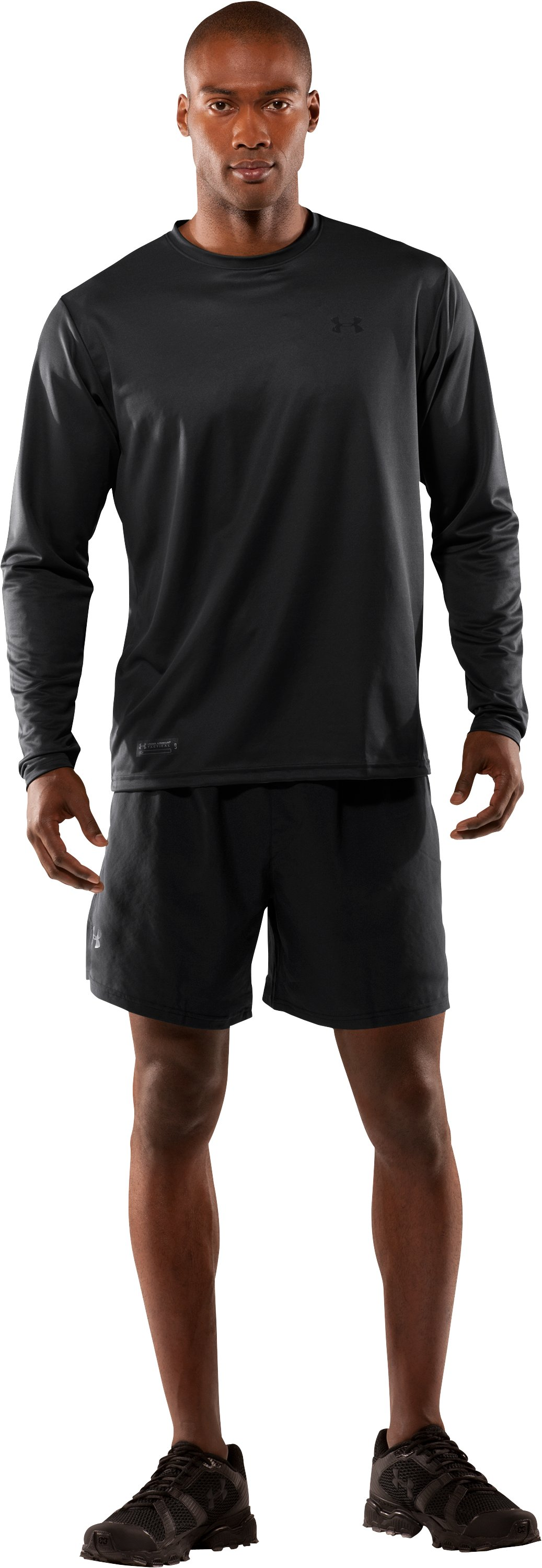 Men's UA HeatGear® Tactical Long Sleeve T-Shirt, Black , Front