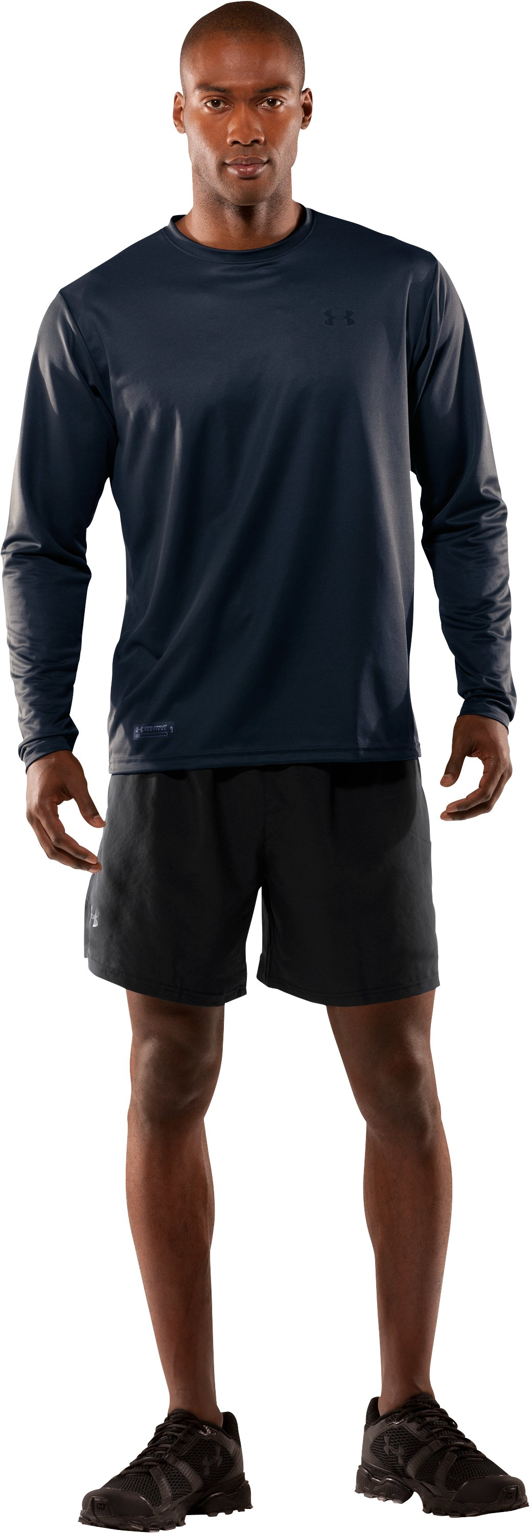 Men's UA HeatGear® Tactical Long Sleeve T-Shirt, Dark Navy Blue , Front