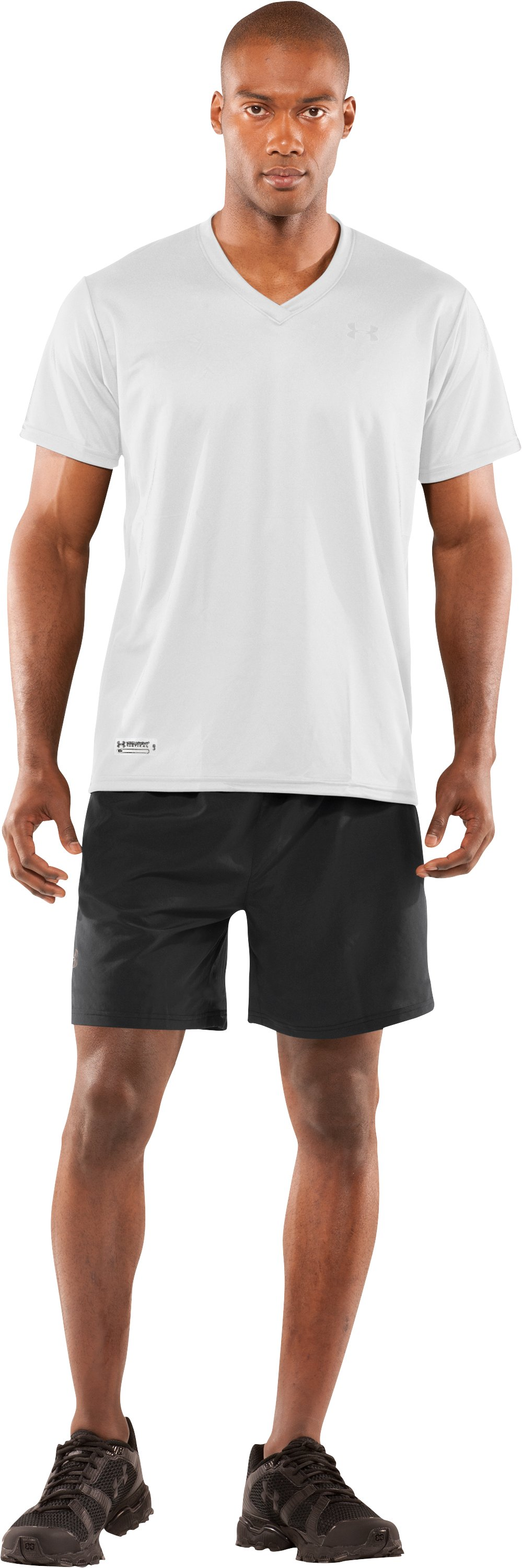 Men's UA HeatGear® Tactical V-Neck T-Shirt, White, Front
