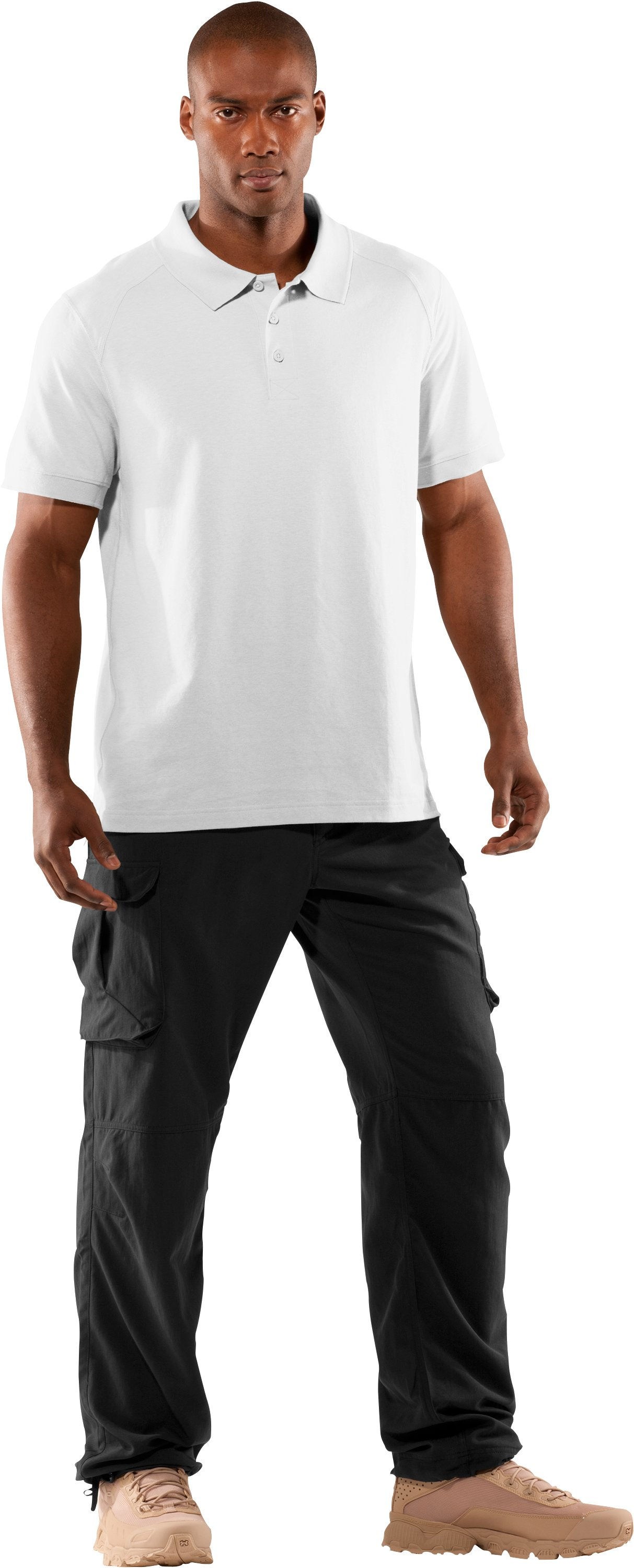Men's UA Tactical Polo, White, Front