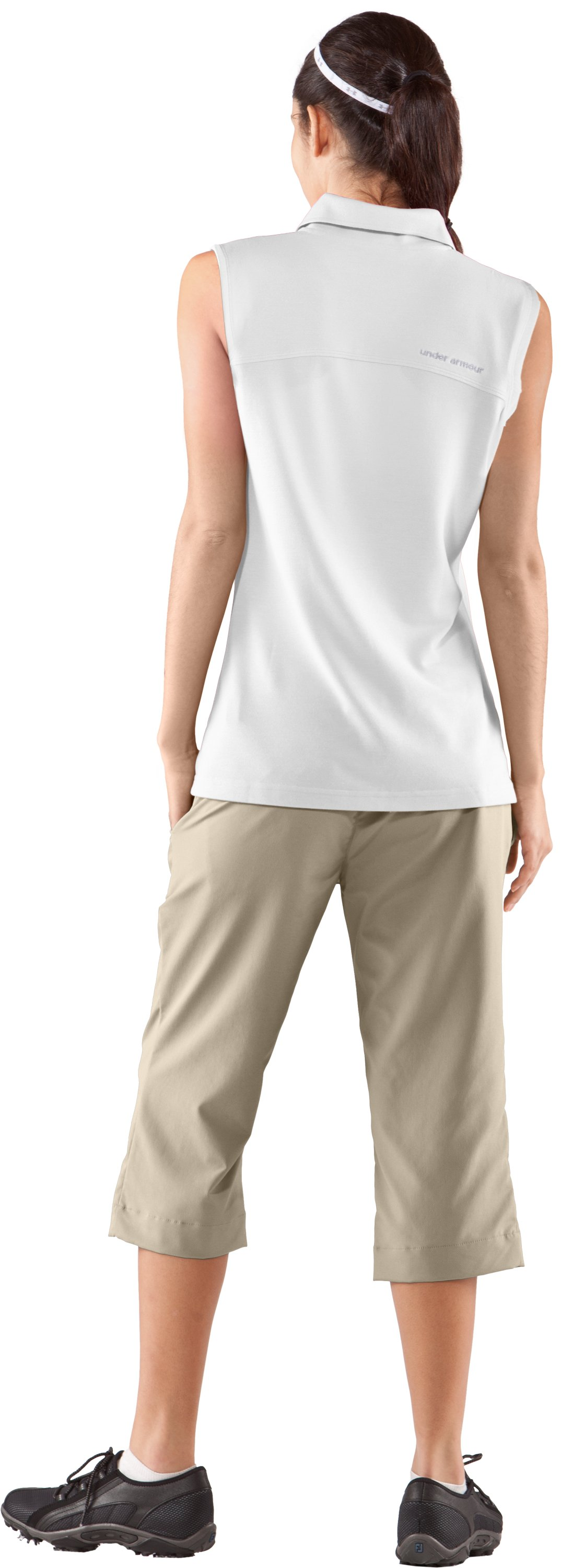Women's Core Solid Sleeveless Golf Polo, White, Back