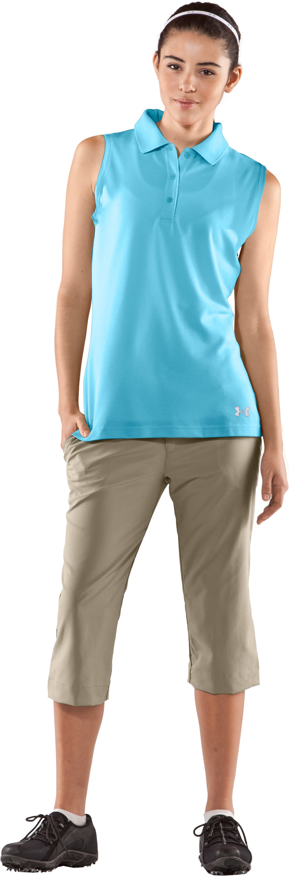 Women's Core Solid Sleeveless Golf Polo, Tobago, Front
