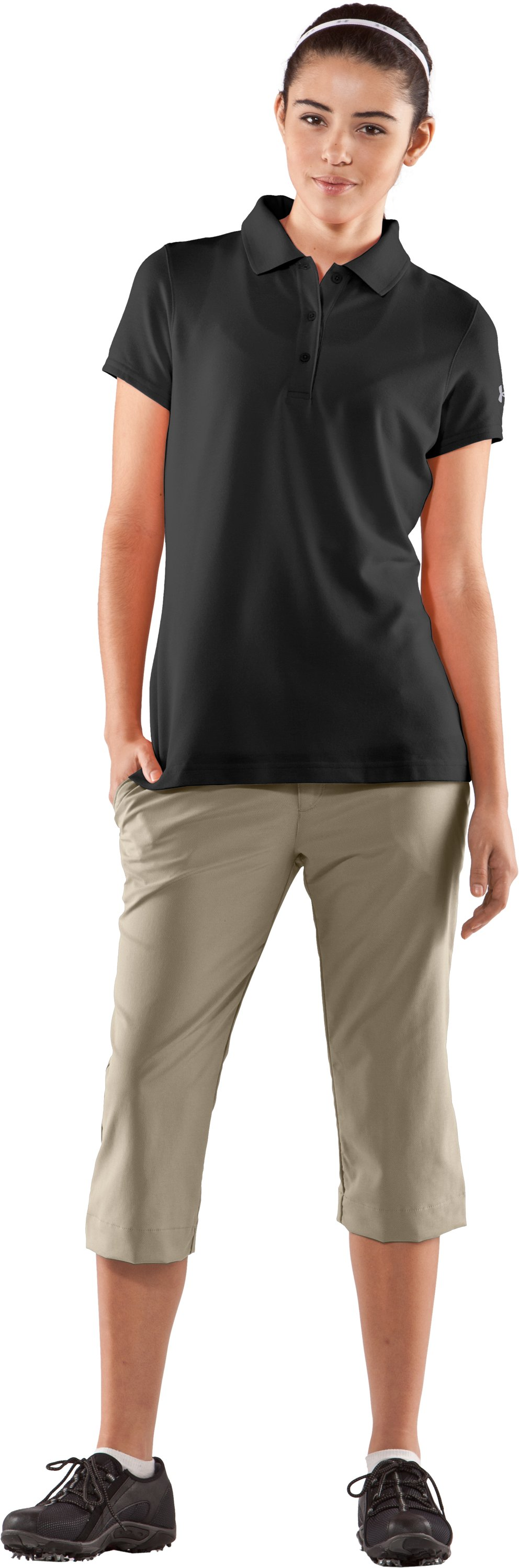 Women's UA Core Solid Short Sleeve Golf Polo, Black , Front