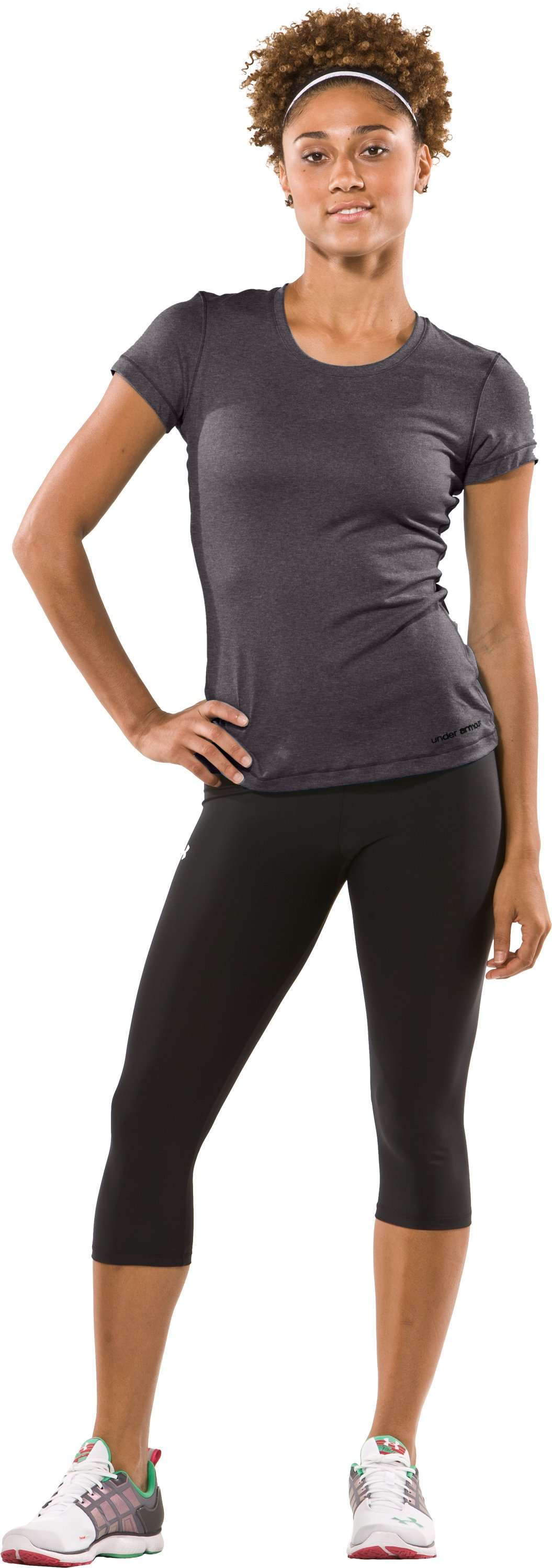 Women's UA HeatGear® Touch Short Sleeve T-Shirt, Carbon Heather, Front