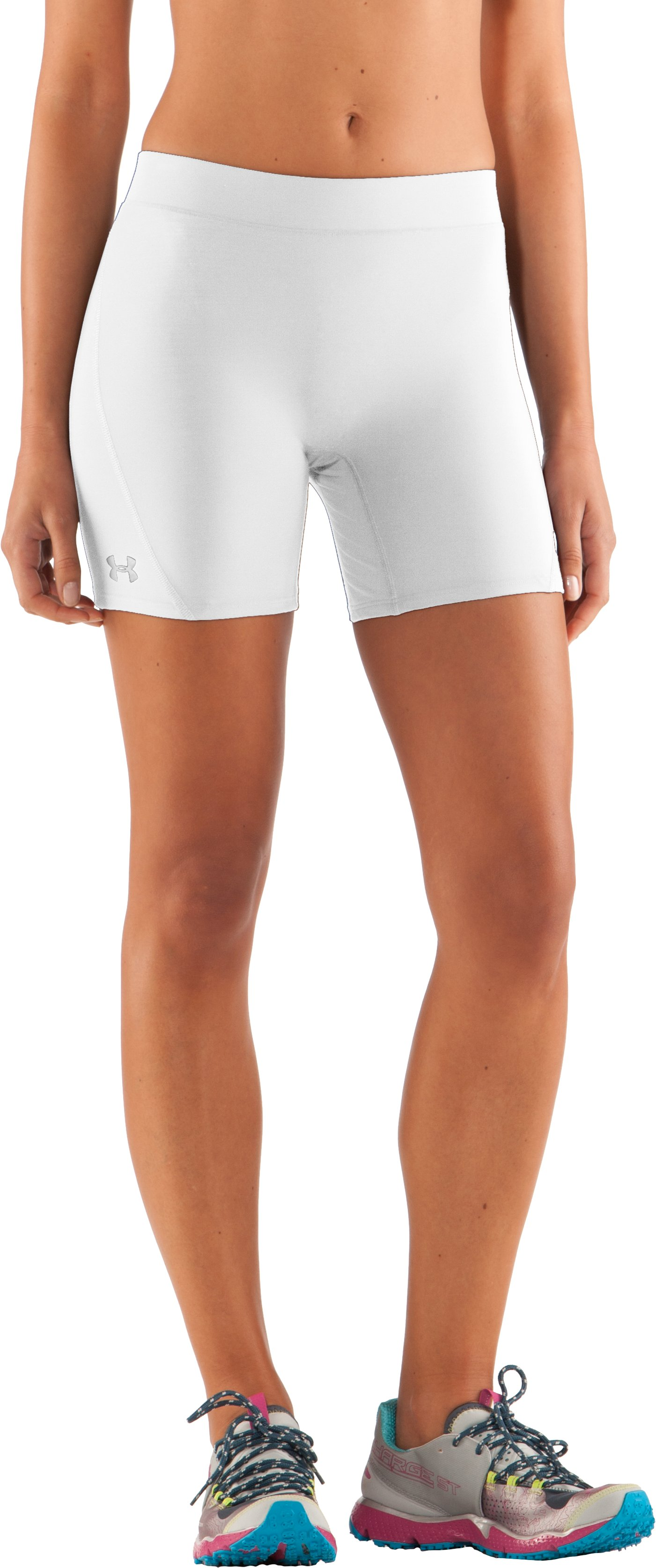 "Women's UA Ultra 4"" Compression Shorts, White, zoomed image"