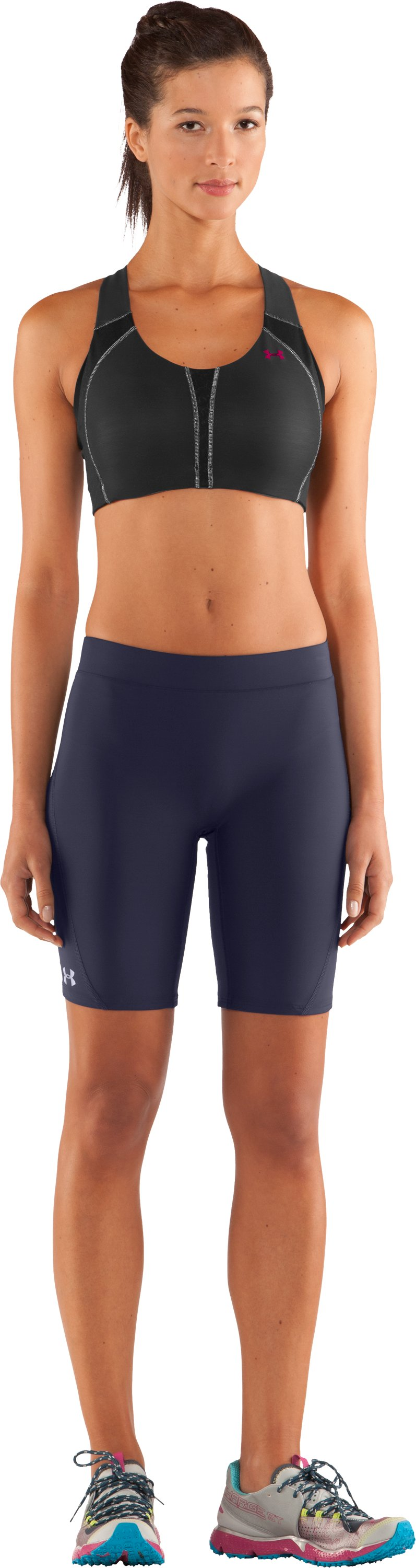 "Women's UA Ultra 7"" Compression Shorts, Midnight Navy, Front"