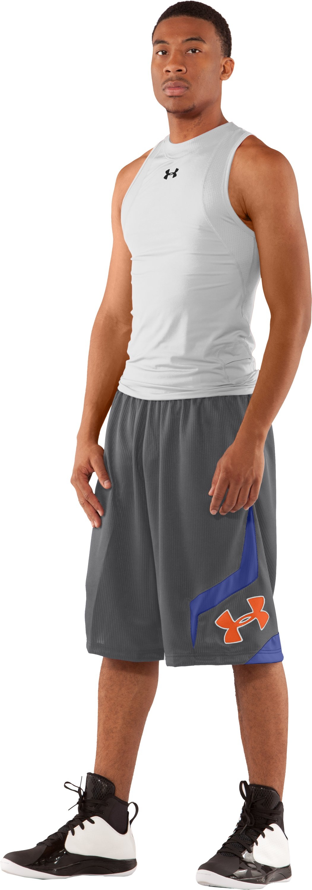 "Men's UA Valkyrie 12"" Basketball Short, Graphite, Front"