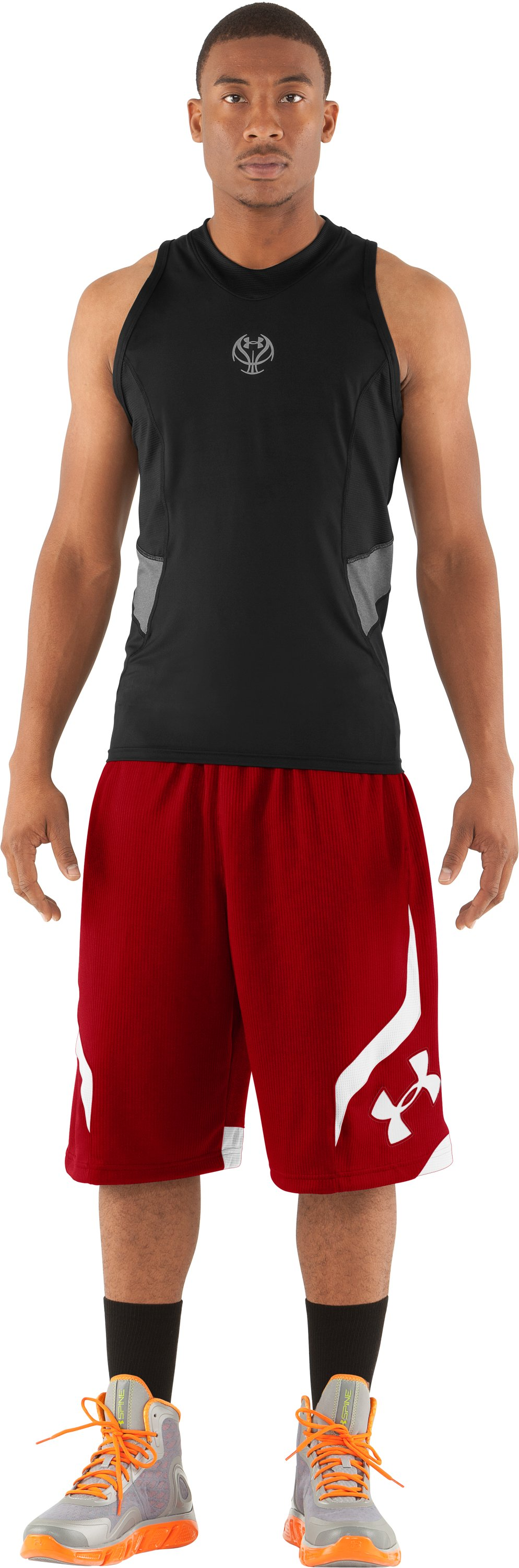 "Men's UA Valkyrie 12"" Basketball Short, Red, Front"