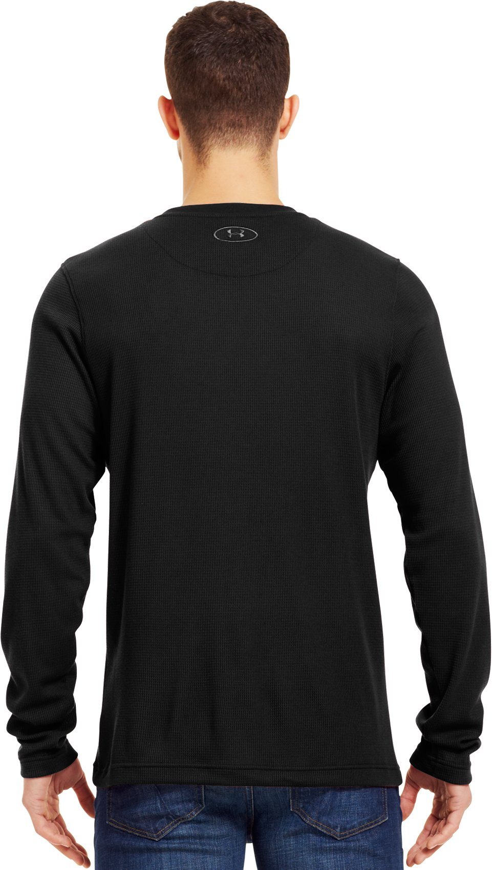 Men's Long Sleeve Waffle Crew, Black , Back