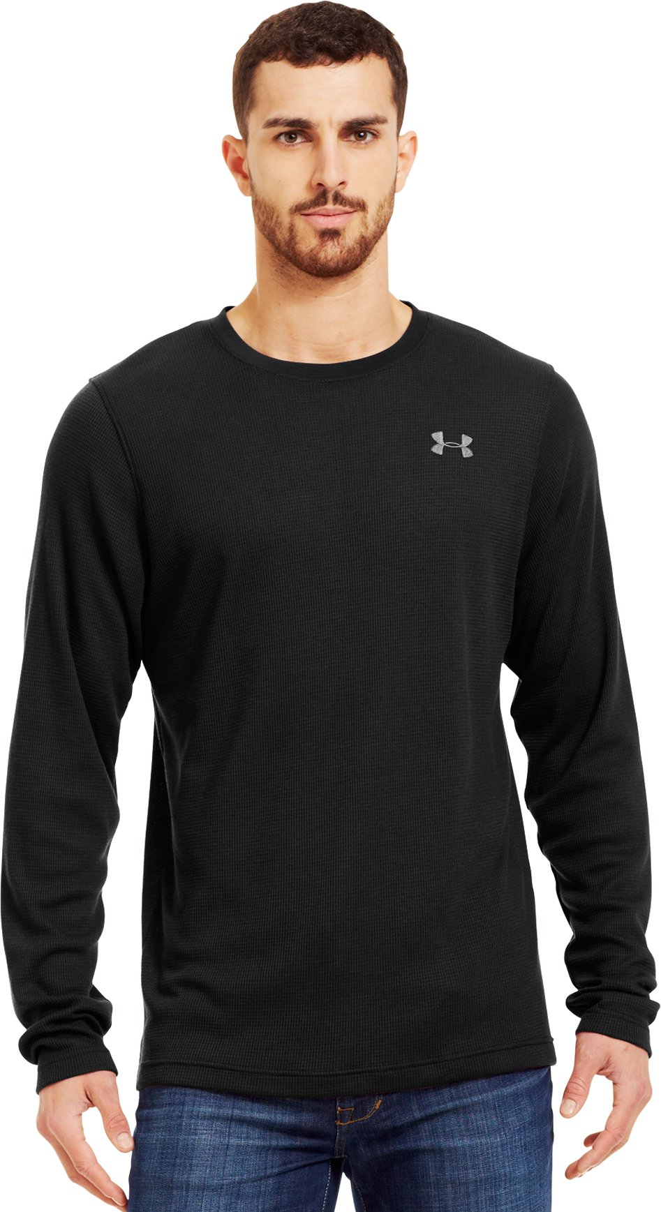 Men's Long Sleeve Waffle Crew, Black , Front