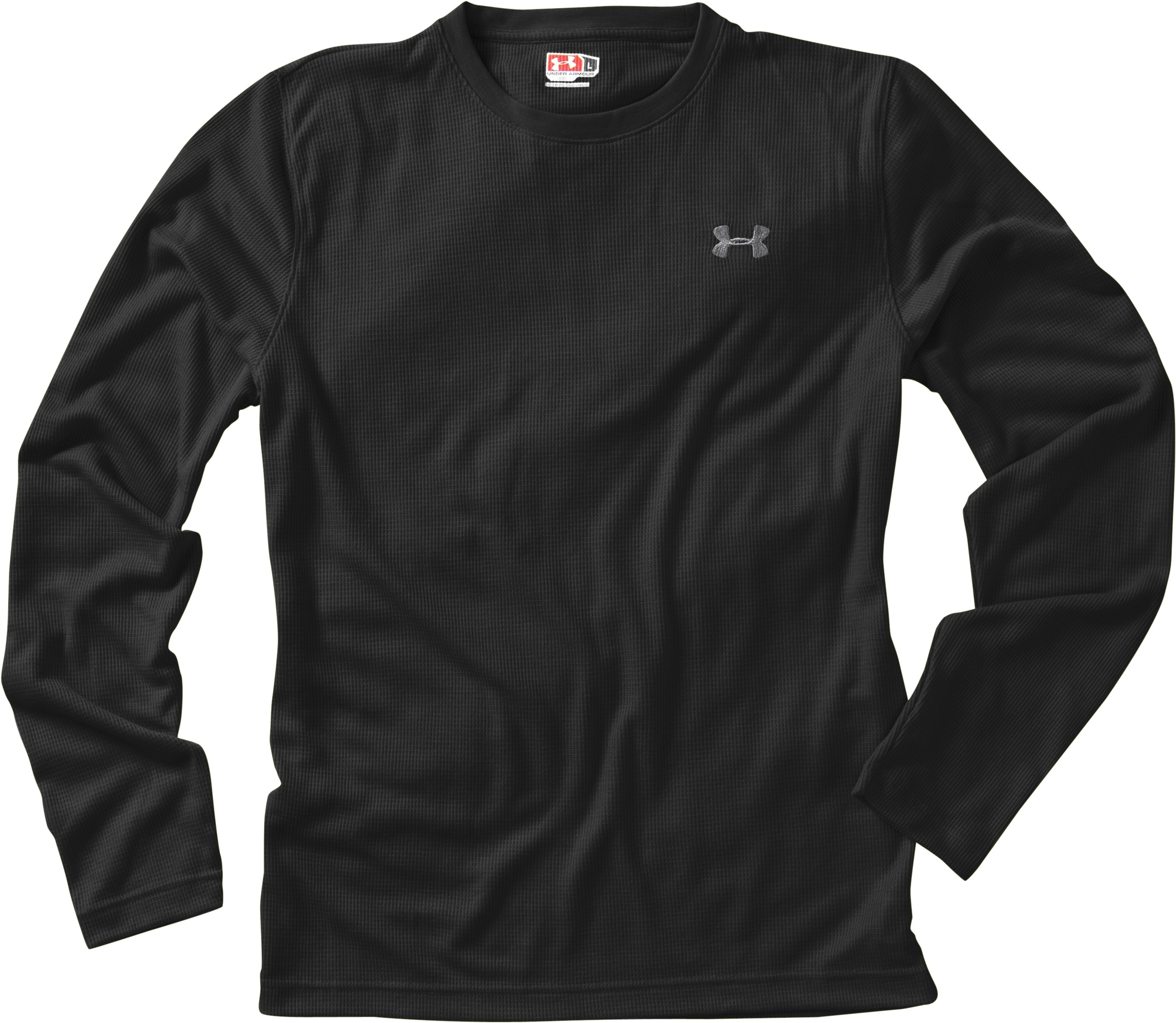 Men's Long Sleeve Waffle Crew, Black , Laydown