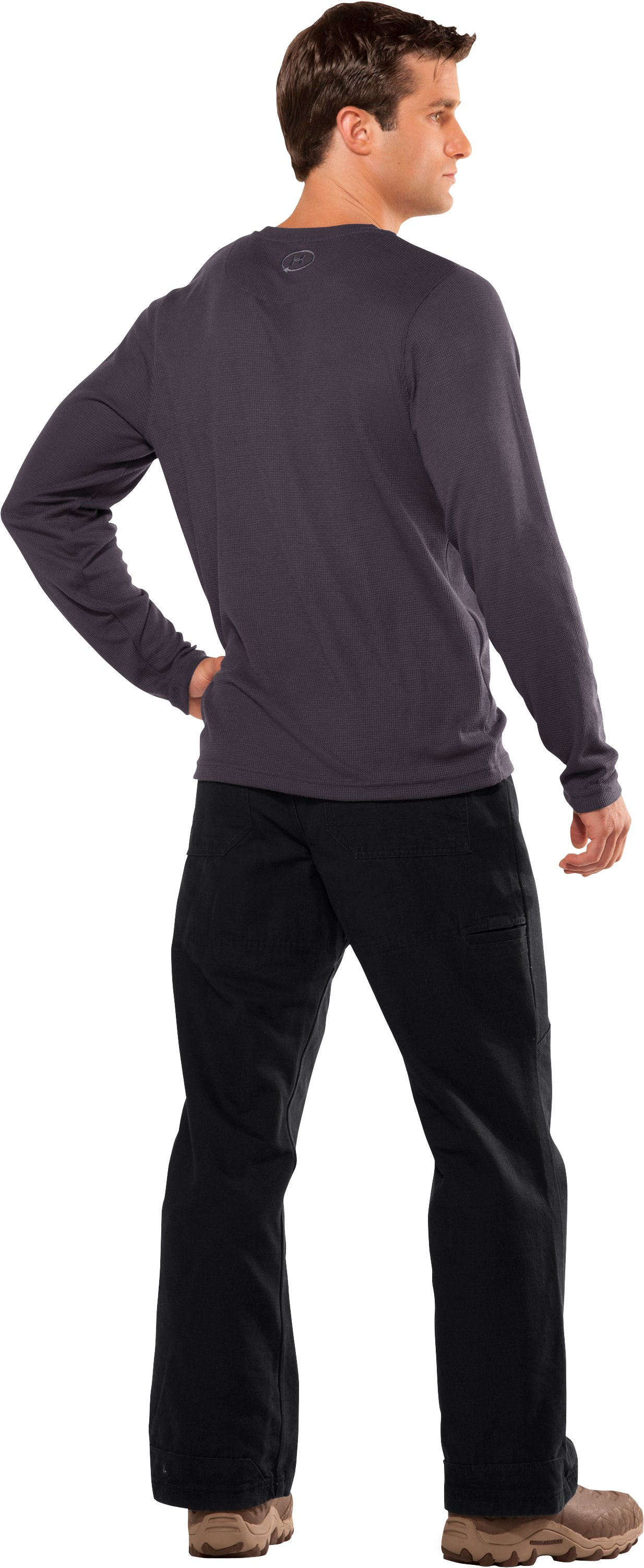 Men's Long Sleeve Waffle Crew, Charcoal, Back
