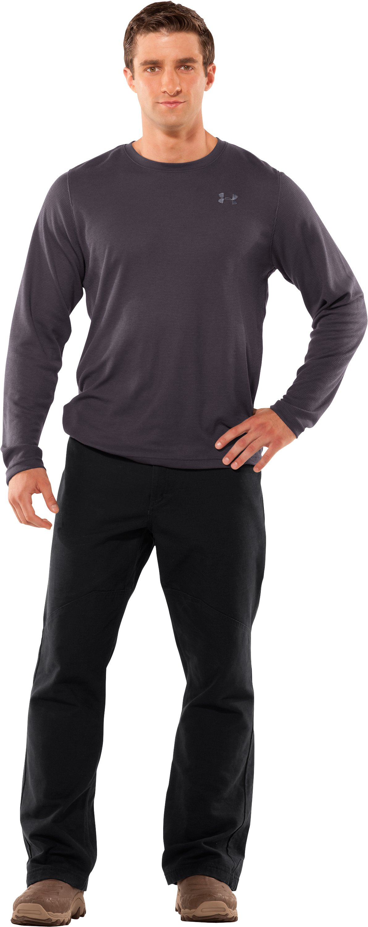 Men's Long Sleeve Waffle Crew, Charcoal, Front