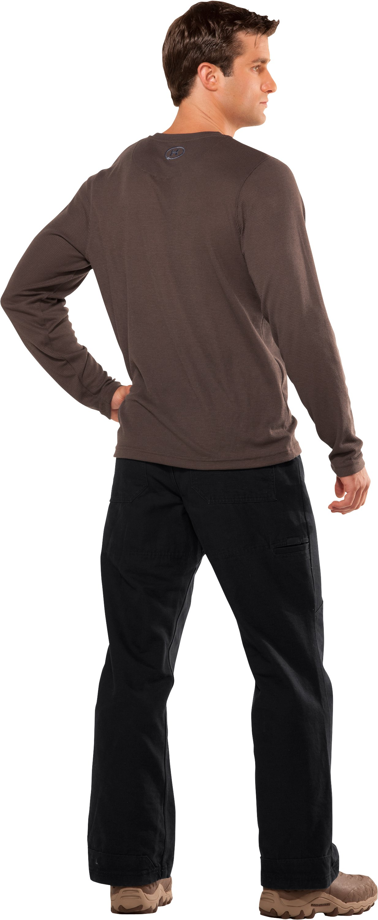 Men's Long Sleeve Waffle Crew, Timber, Back