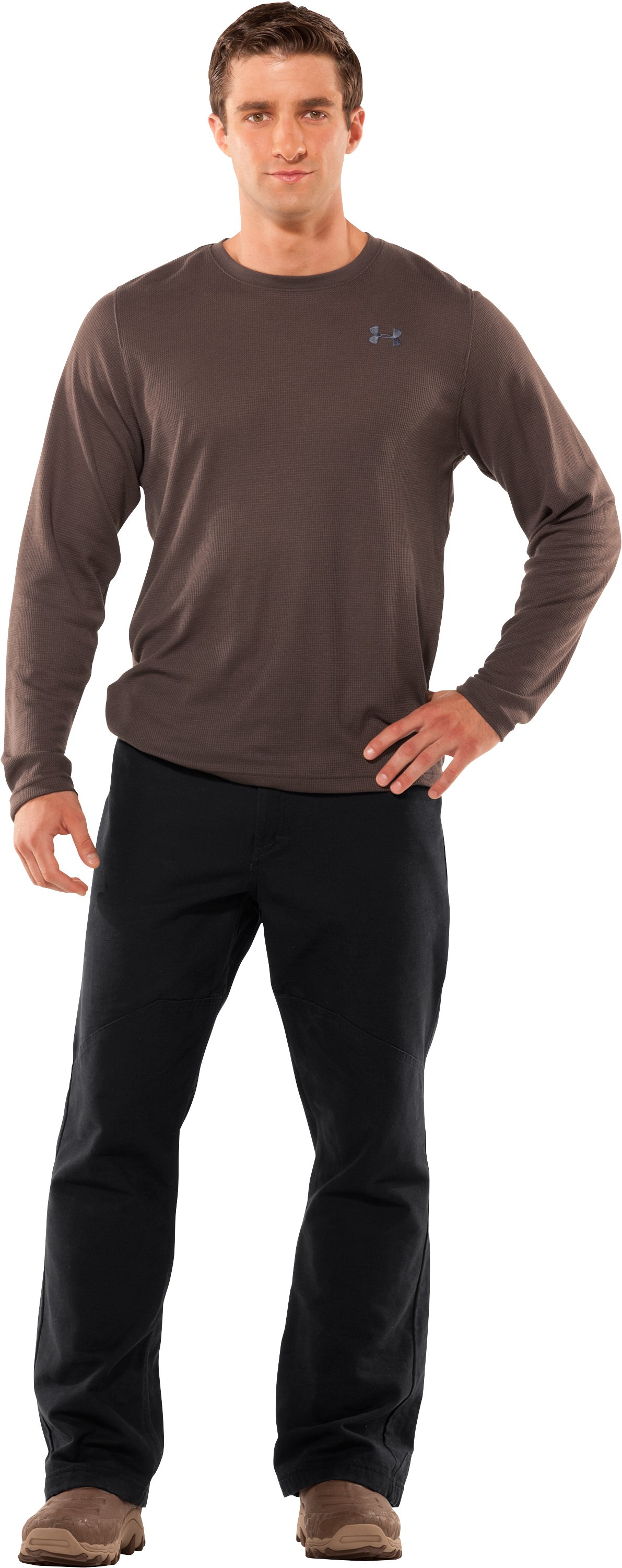 Men's Long Sleeve Waffle Crew, Timber, Front