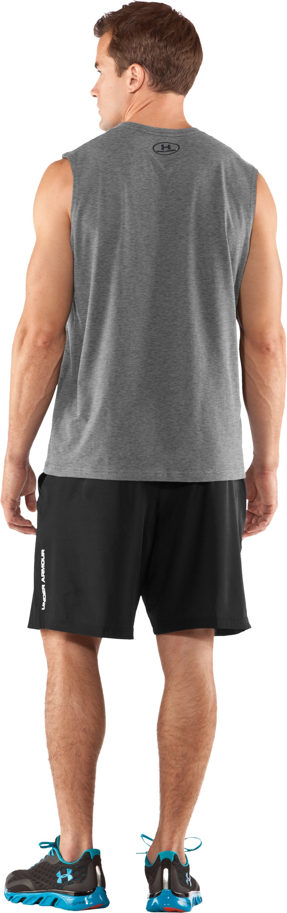 Men's Charged Cotton® Sleeveless T-shirt, True Gray Heather, Back